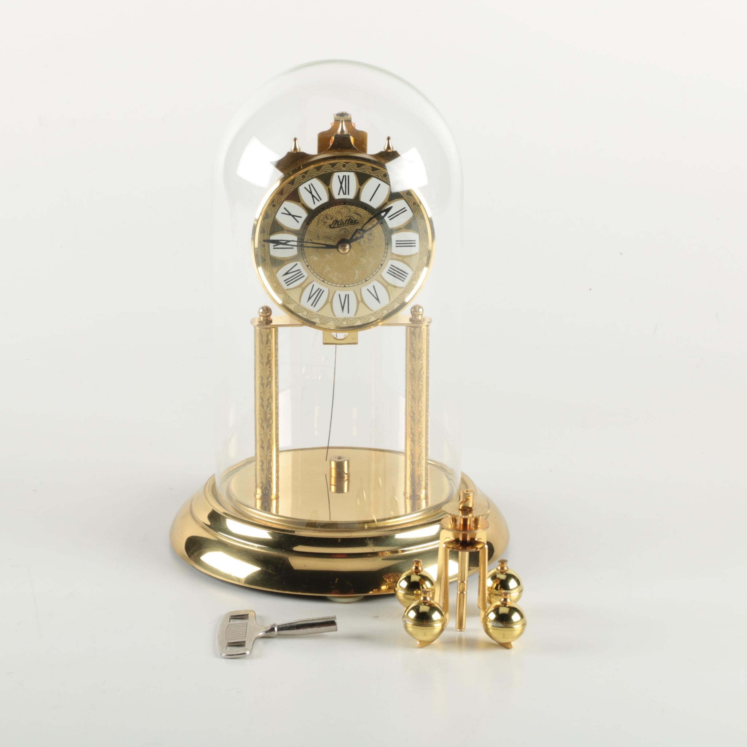 Haller German Brass Anniversary Clock with Glass Dome