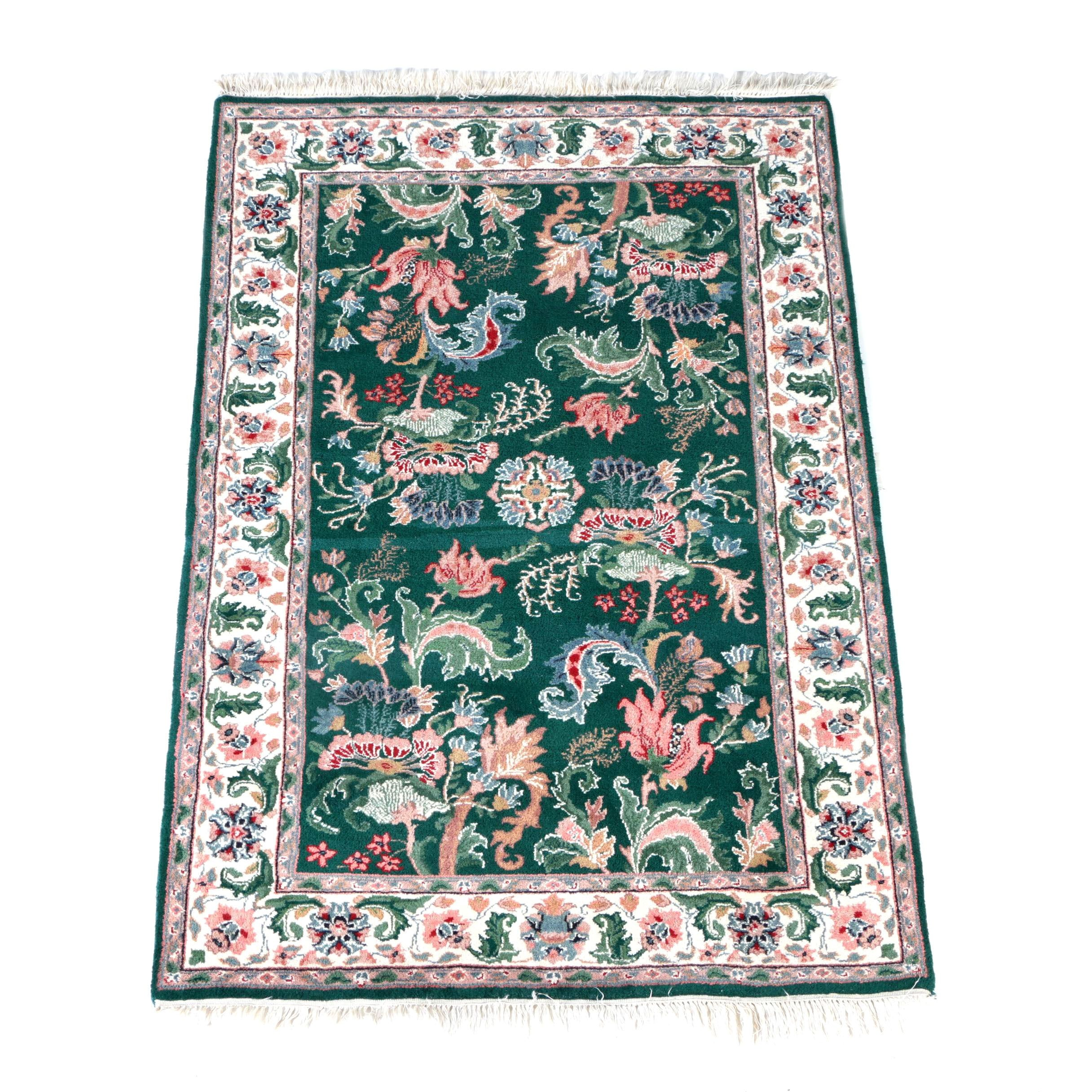 Hand-Knotted Chinese Floral Area Rug