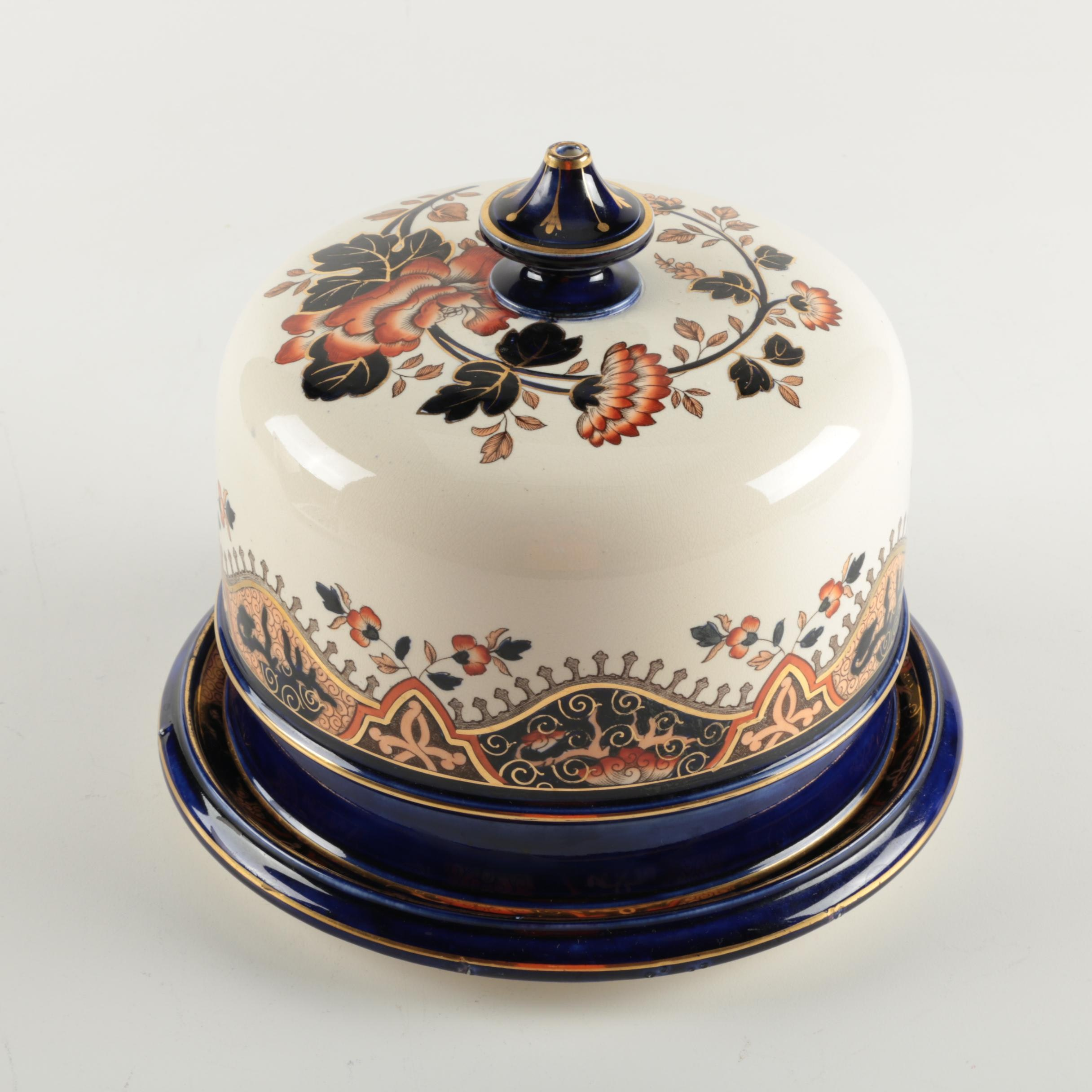 Hand Painted Porcelain Domed Butter Dish