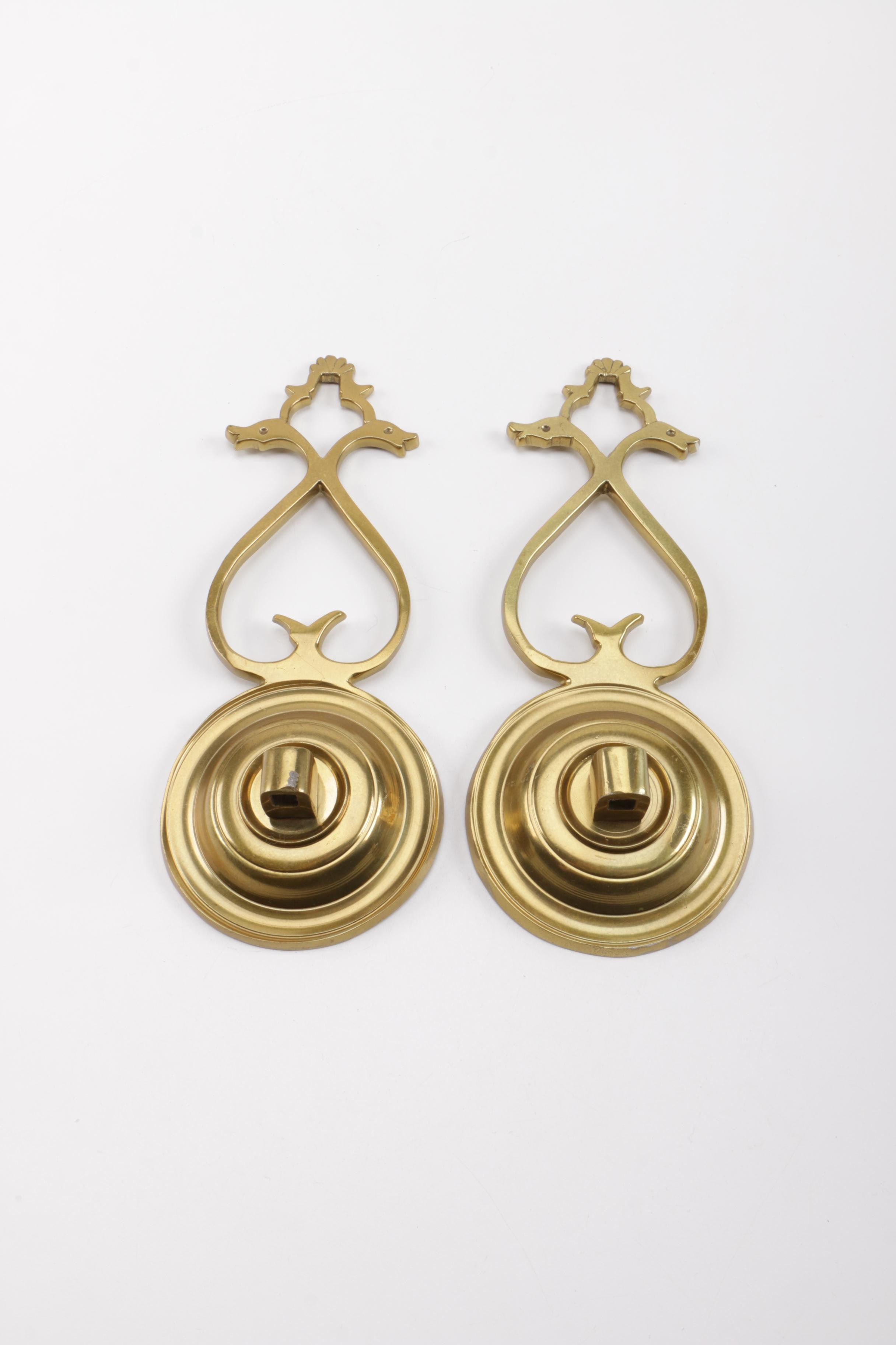Pair of Wall Mount Brass Candle Holders