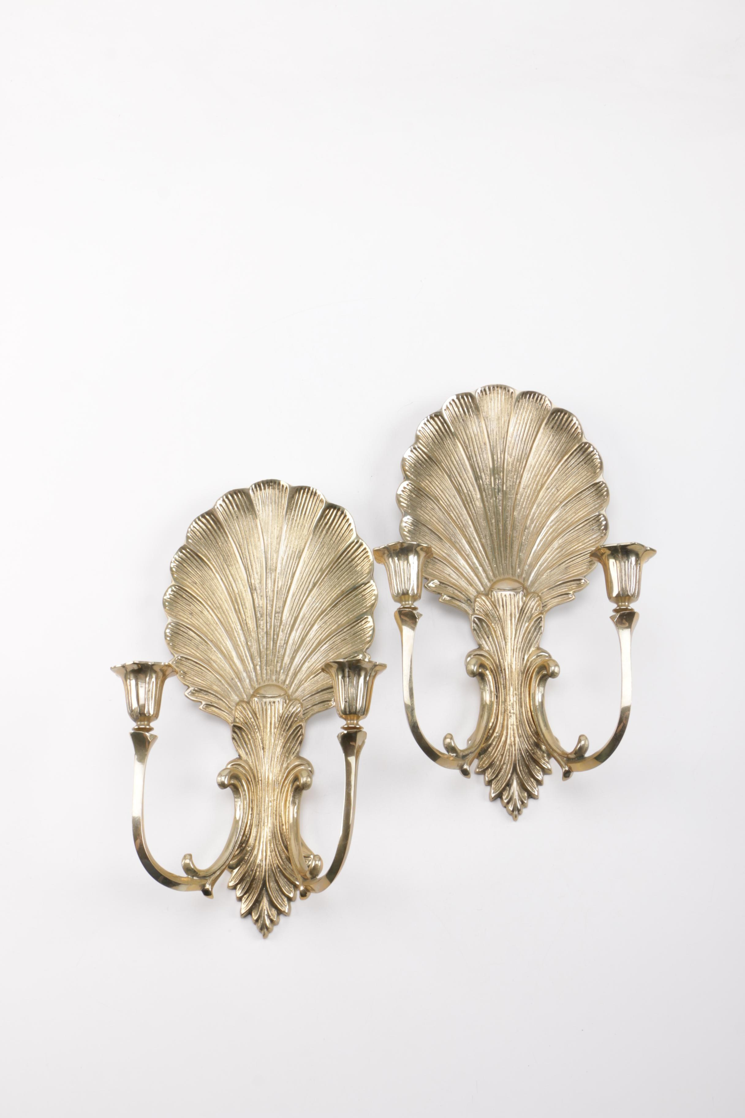 Two Brass Candle Holder Sconces