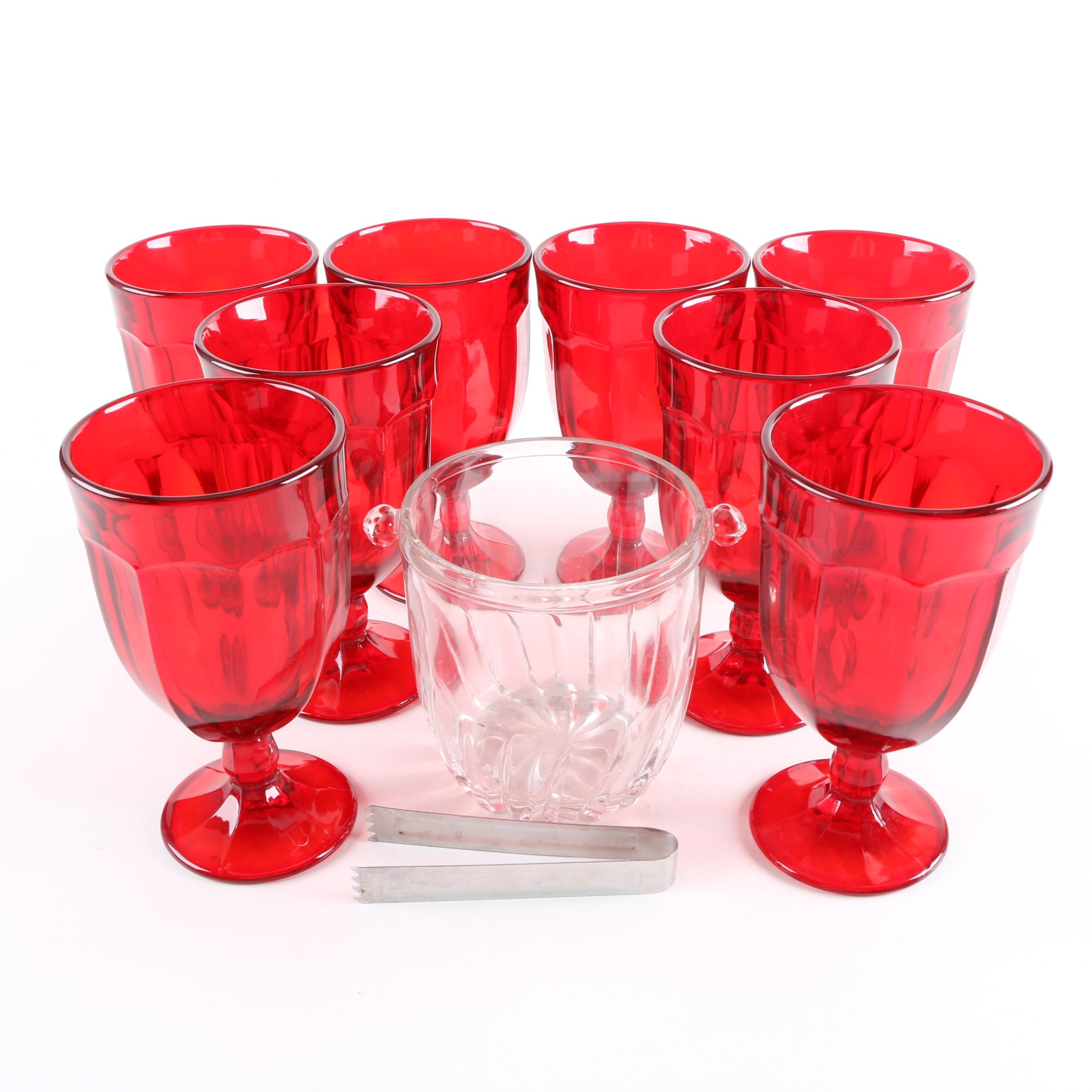Red Goblet Glasses and Ice Bucket