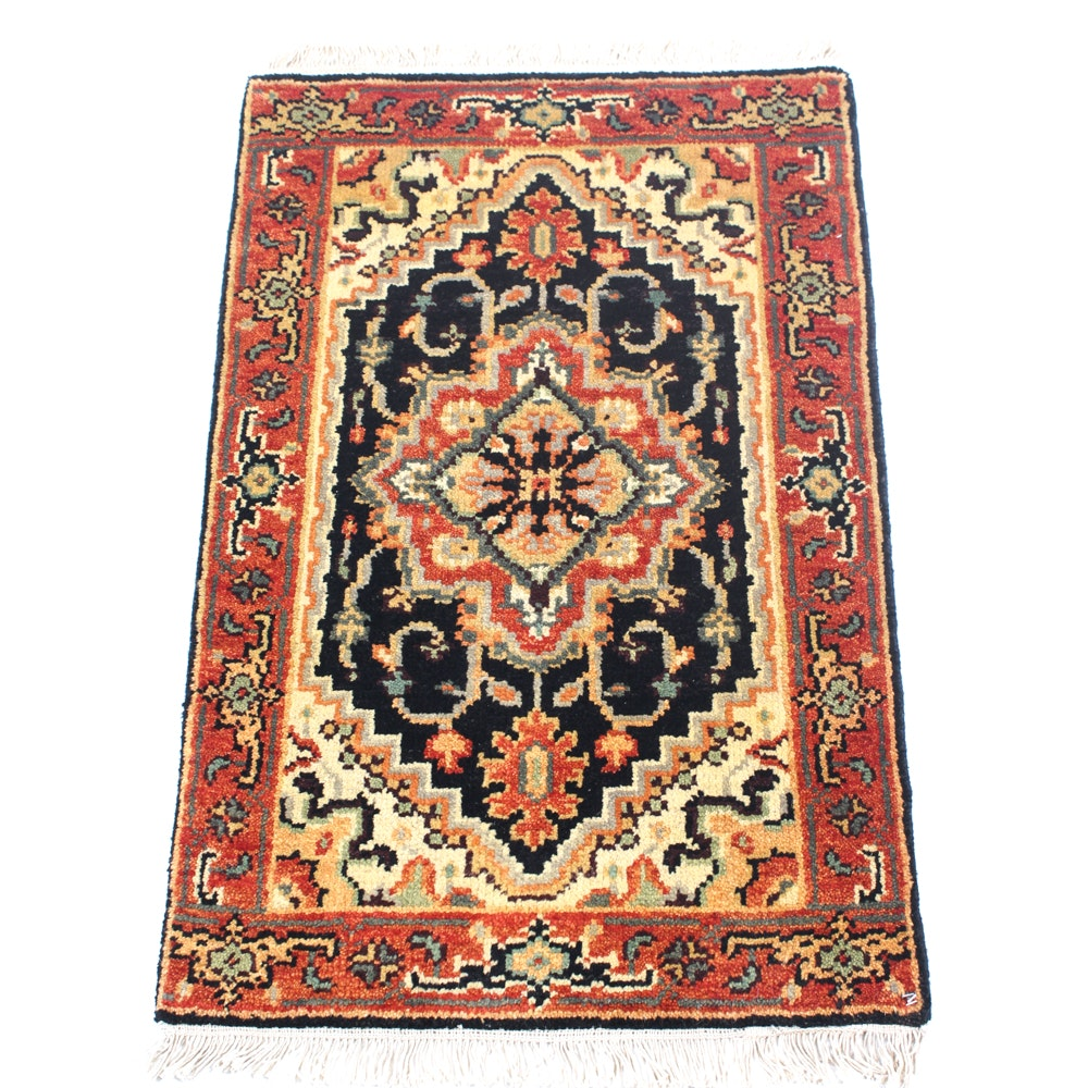 Hand-Knotted Indo-Persian Heriz Accent Rug