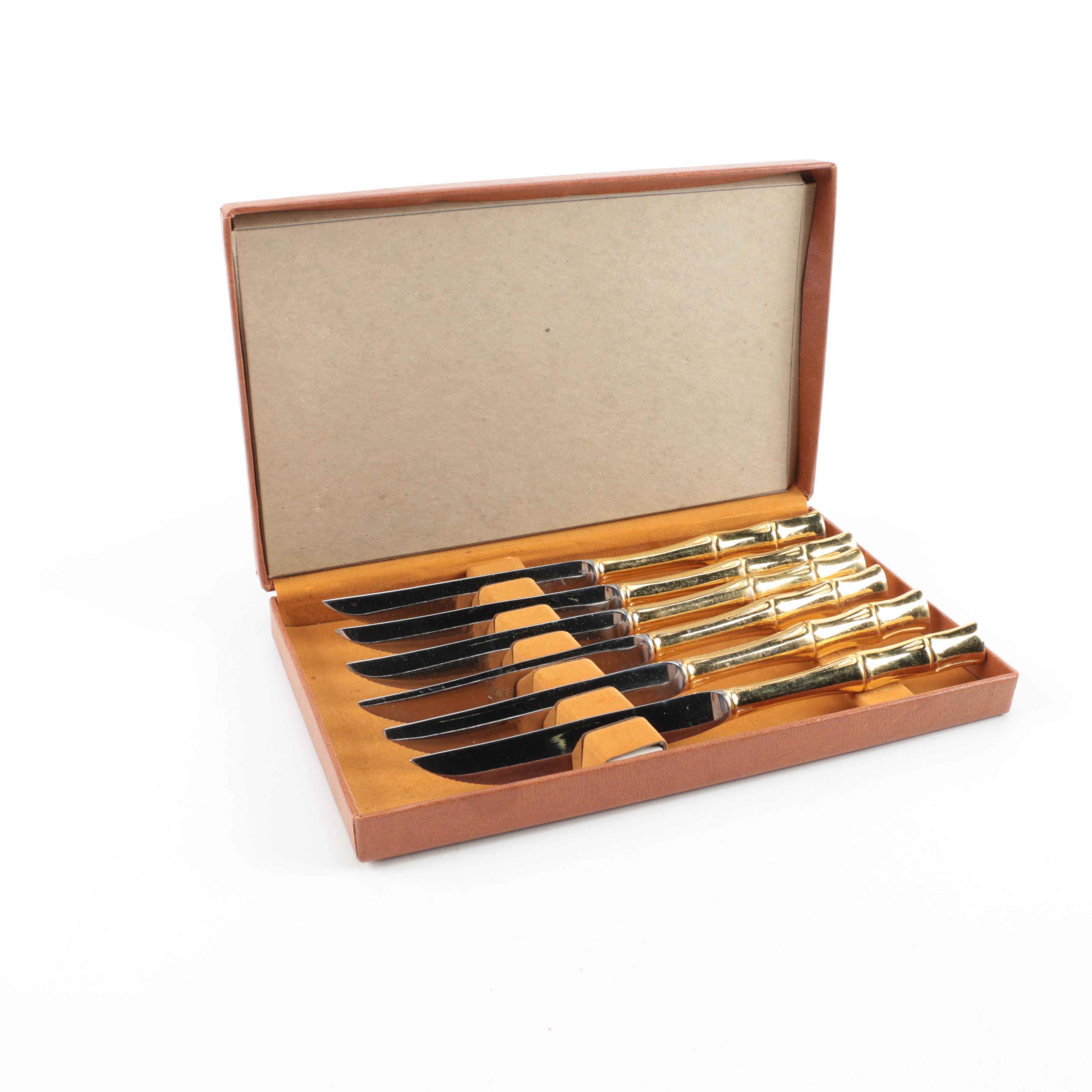 Brass-Handled Dinner Knife Set