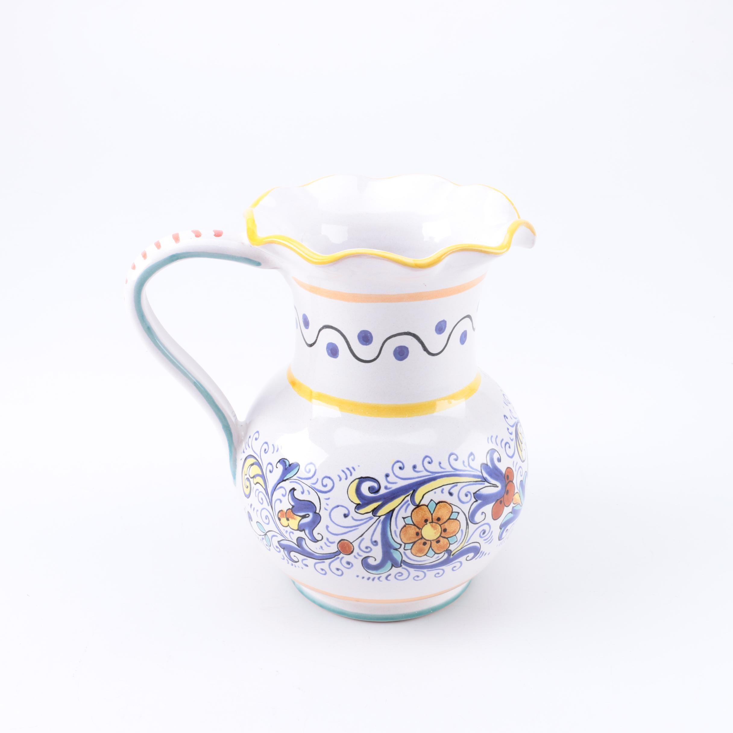 "Deruta ""Vecchia"" Italian Ceramic Pitcher"