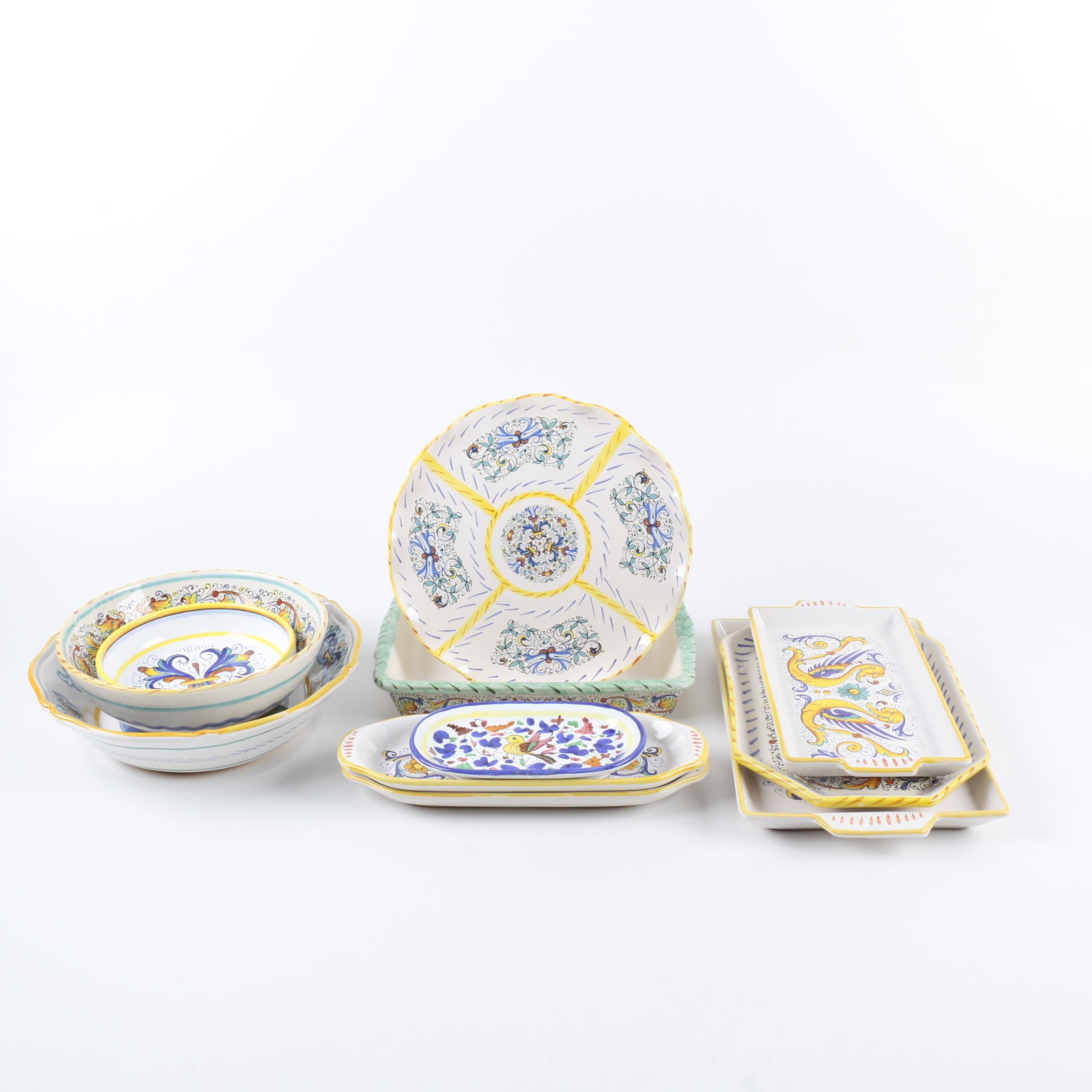 Italian Hand-Painted Serveware with Dishes