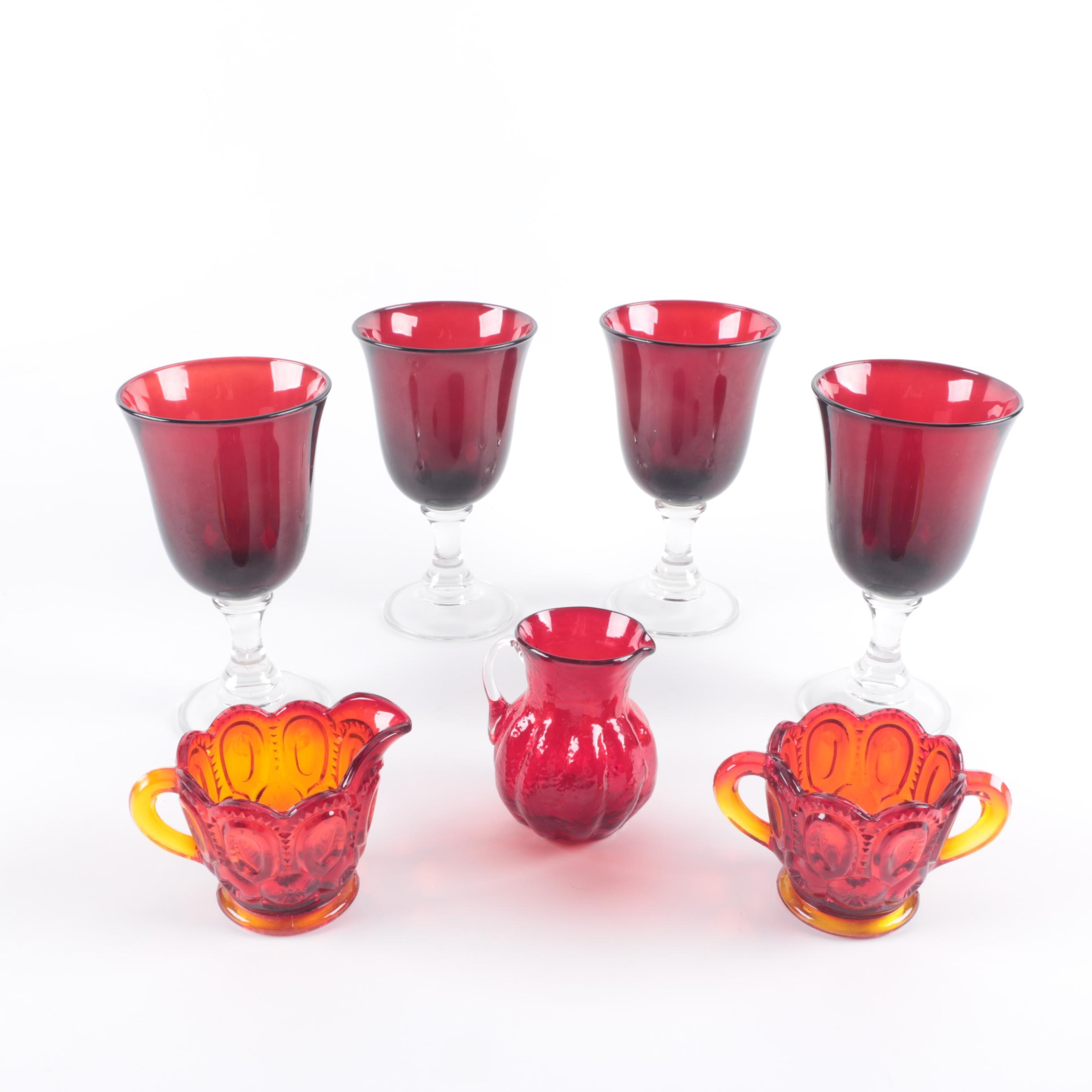 Colored Glass Tableware Including Carnival Glass