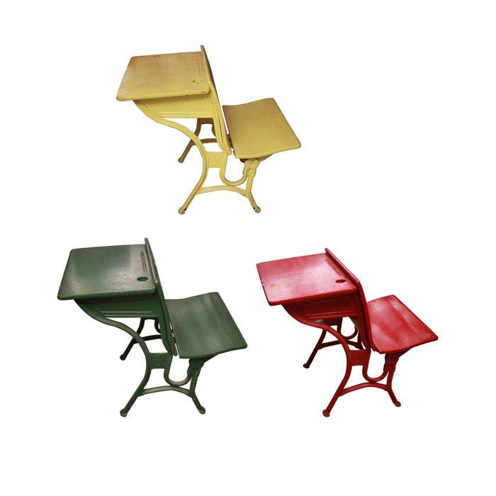 Three Vintage School Desks