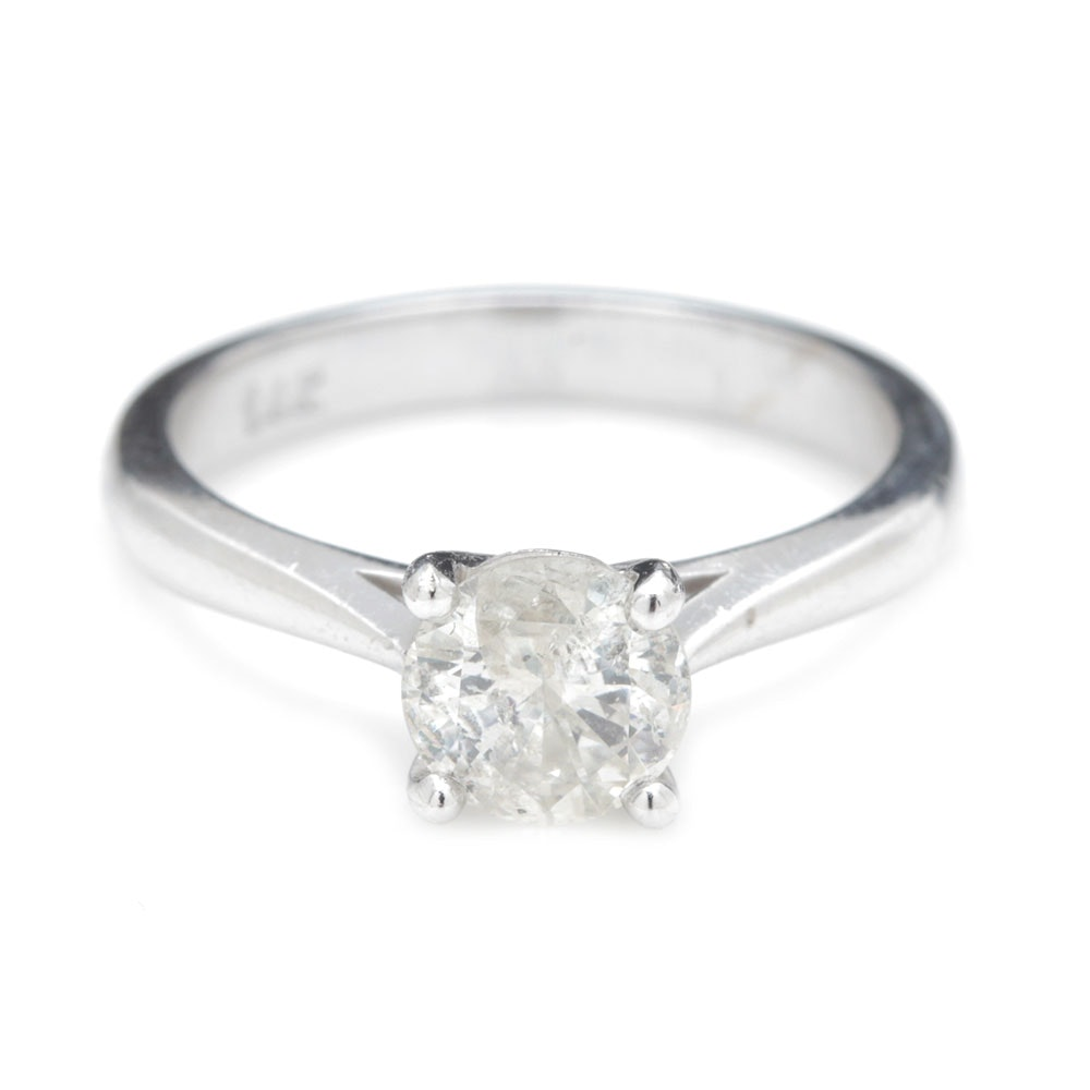 14K White Gold 0.98 CT Diamond Solitaire Ring