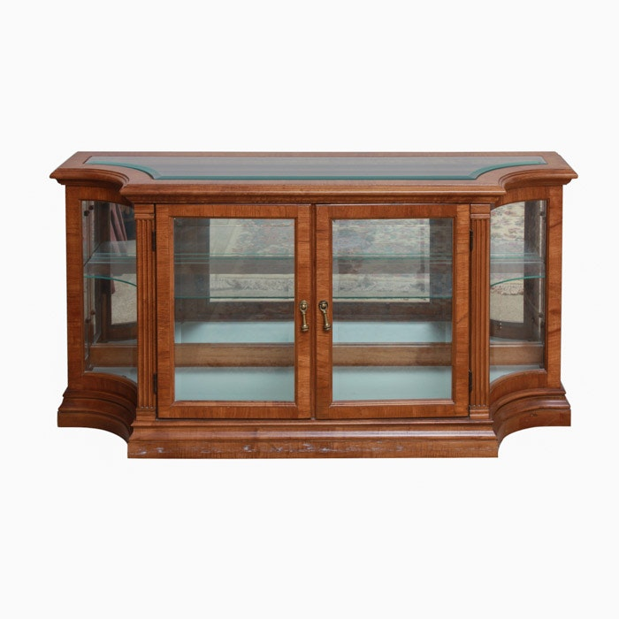 Glass and Wooden Vitrine Cabinet