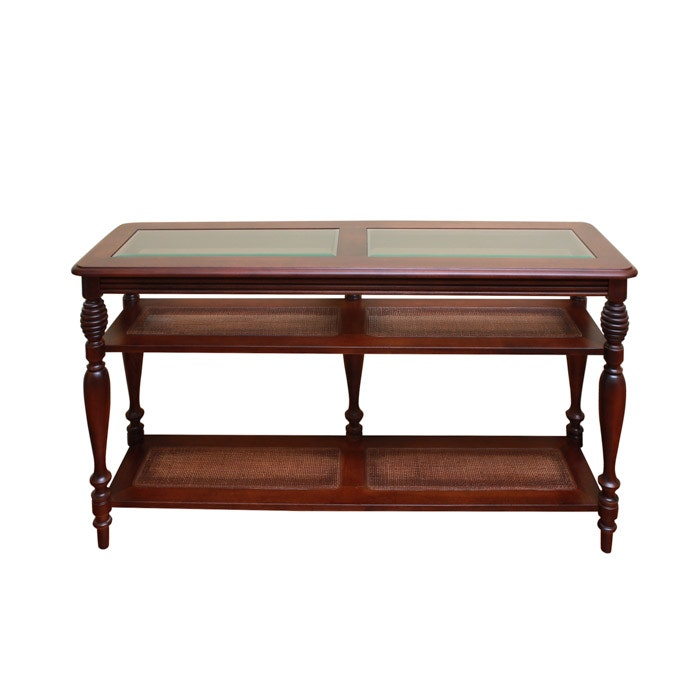 Cherry, Glass, and Rattan Console Table