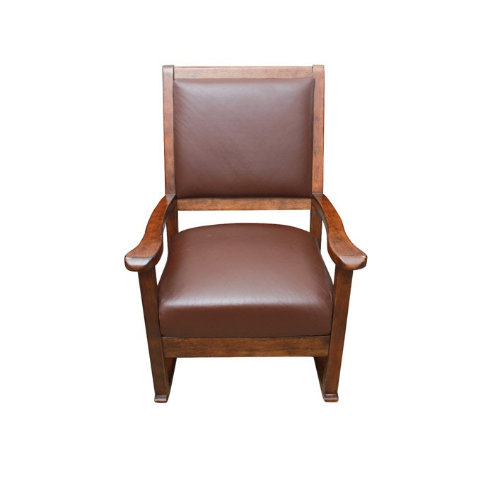 Brown Faux Leather Upholstered Rocking Chair
