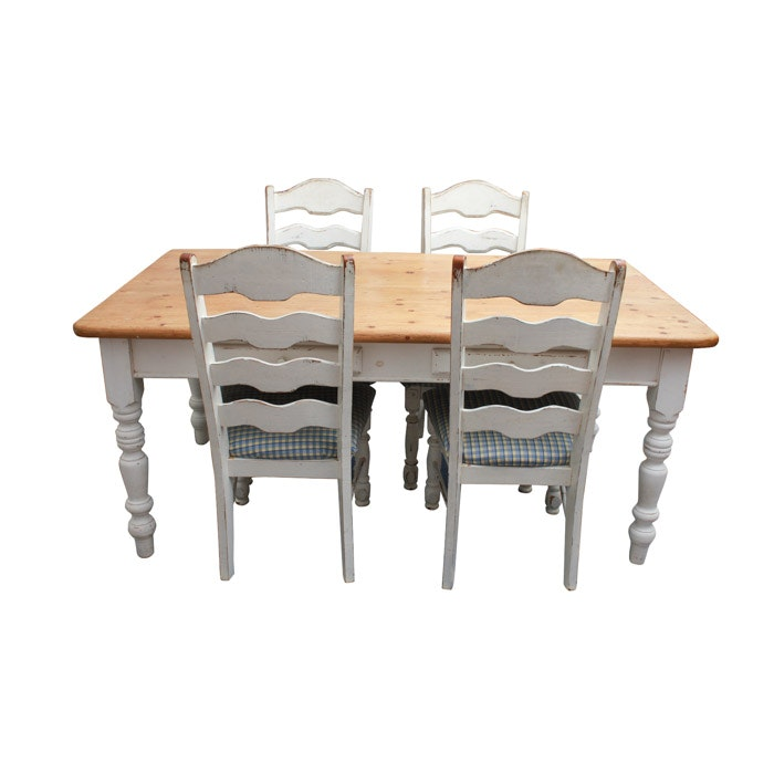 Farmhouse Style Pine Dining Table and Chairs