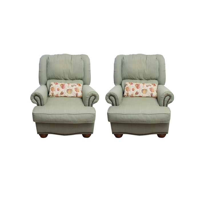 Norwalk Furniture Green-Upholstered Armchairs