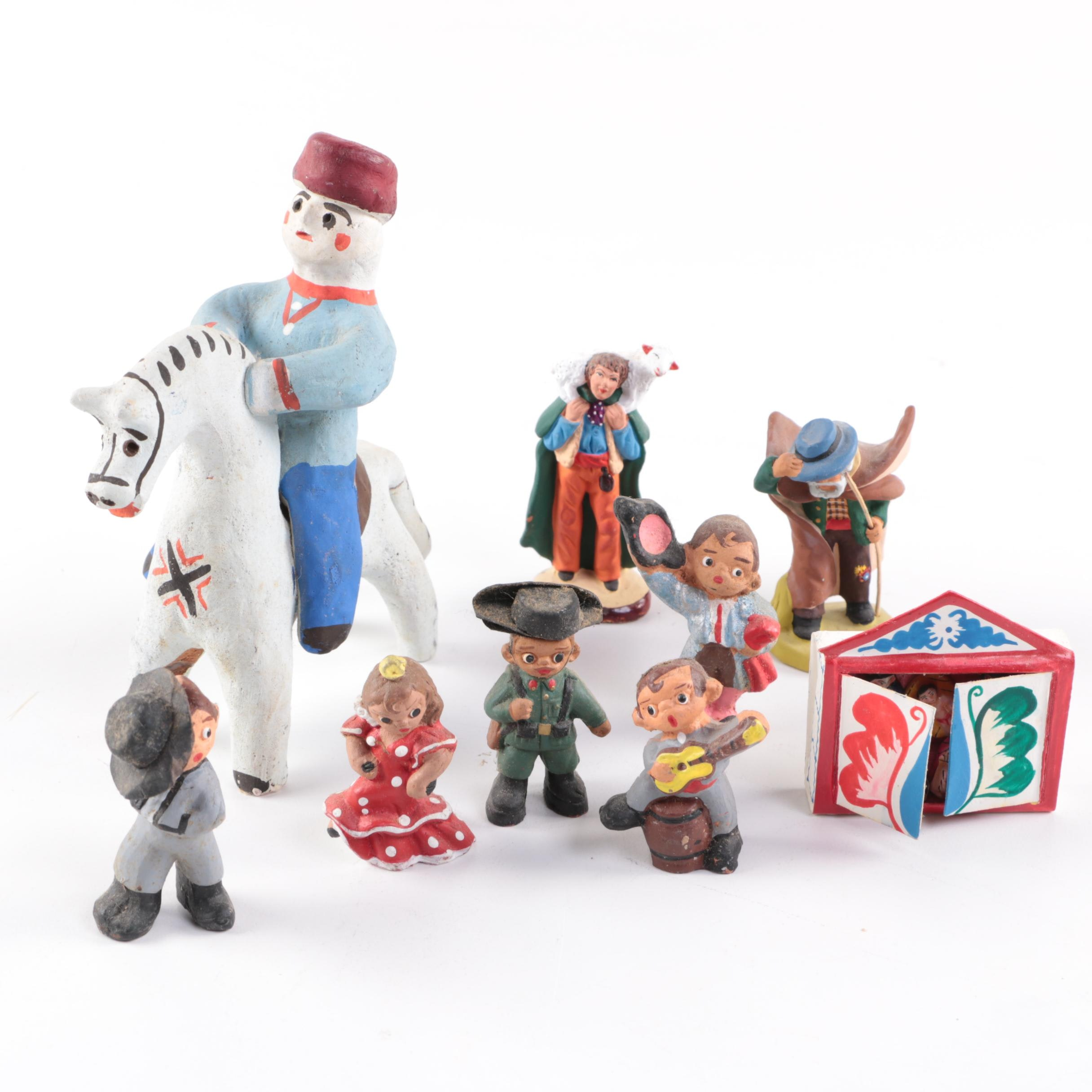 Vintage Wooden Toy Figurines and Nativity Set