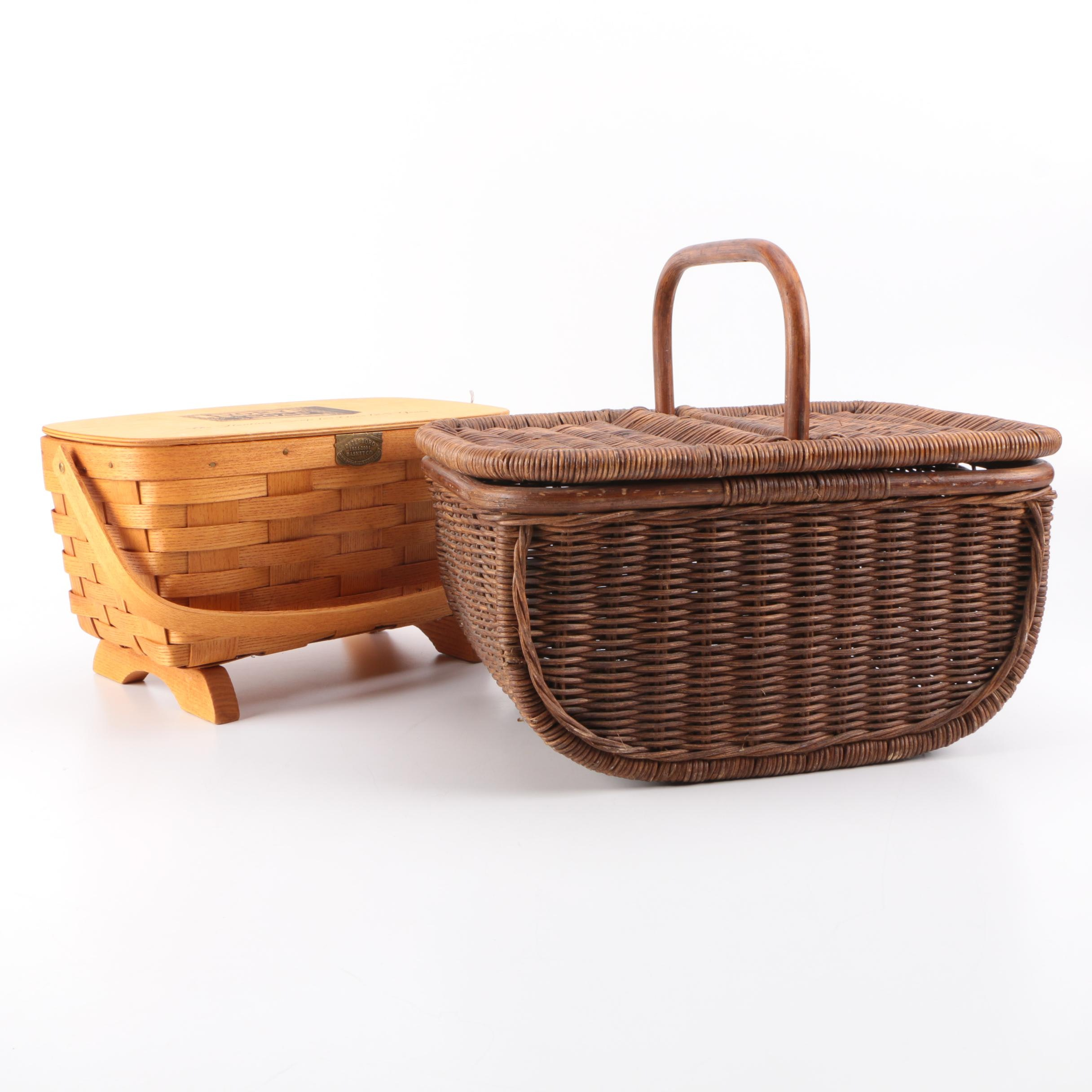 Pair Ivory Soap and P&G Labeled Woven Picnic Baskets