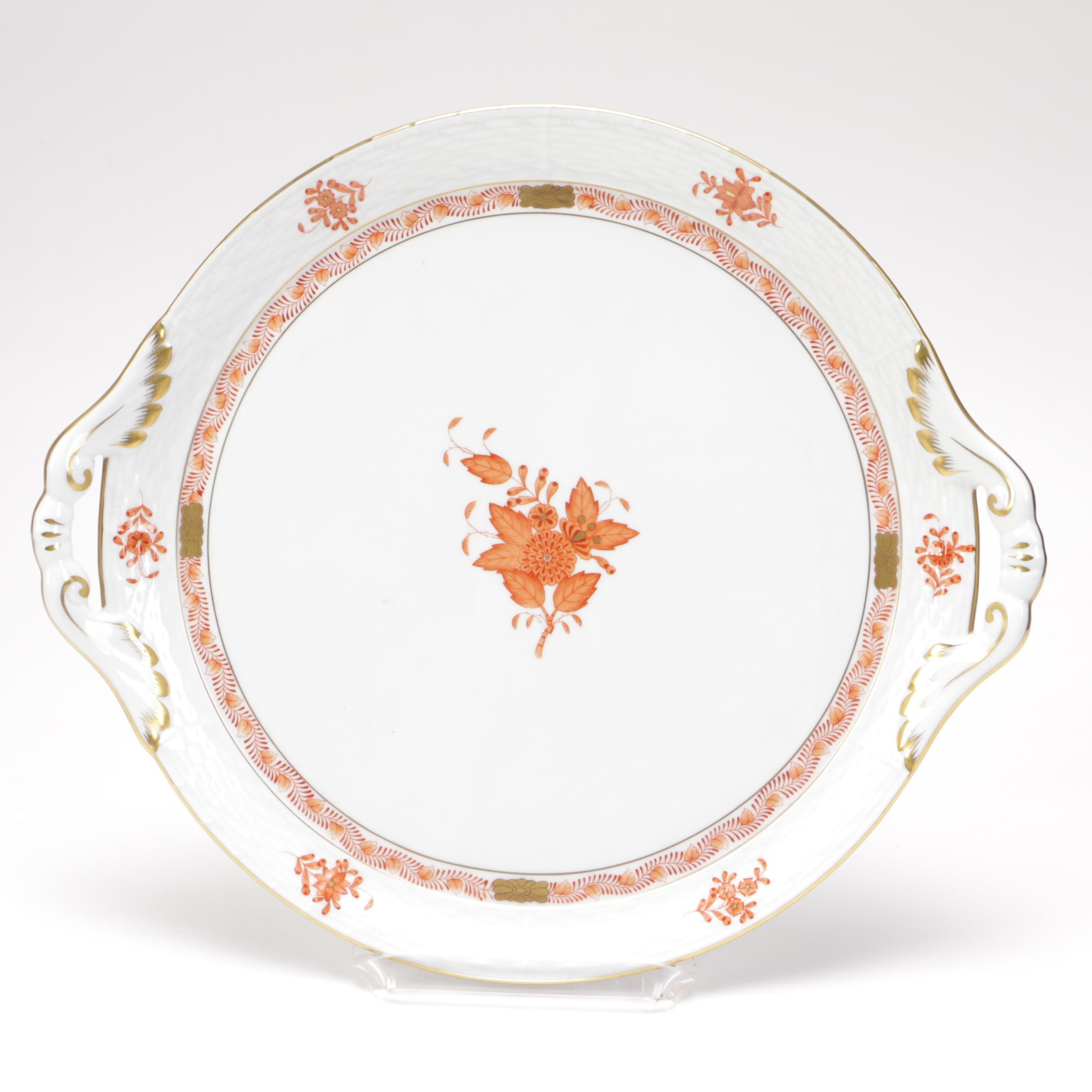 Herend White Ceramic Platter with Floral Motif
