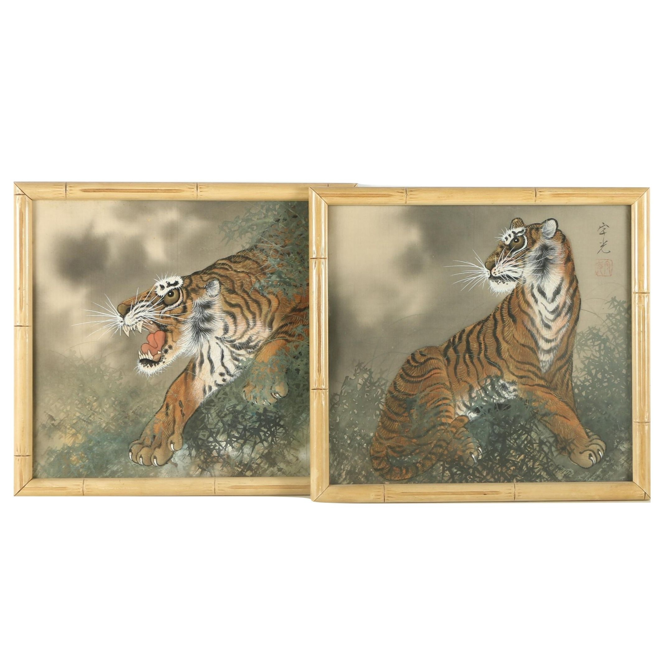 East Asian Style Ink and Watercolor Paintings on Silk of Tigers