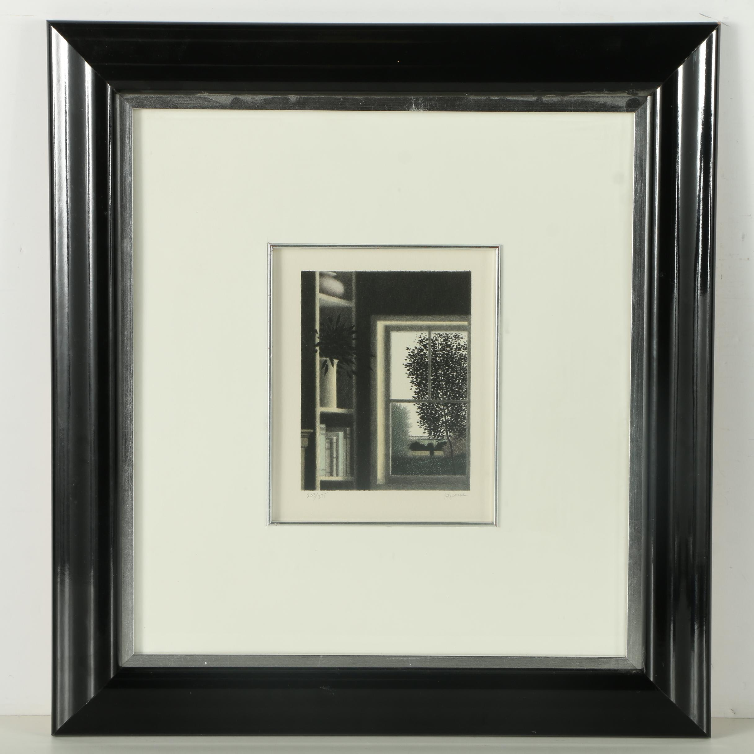 Robert Kipniss Limited Edition Lithograph of Window View