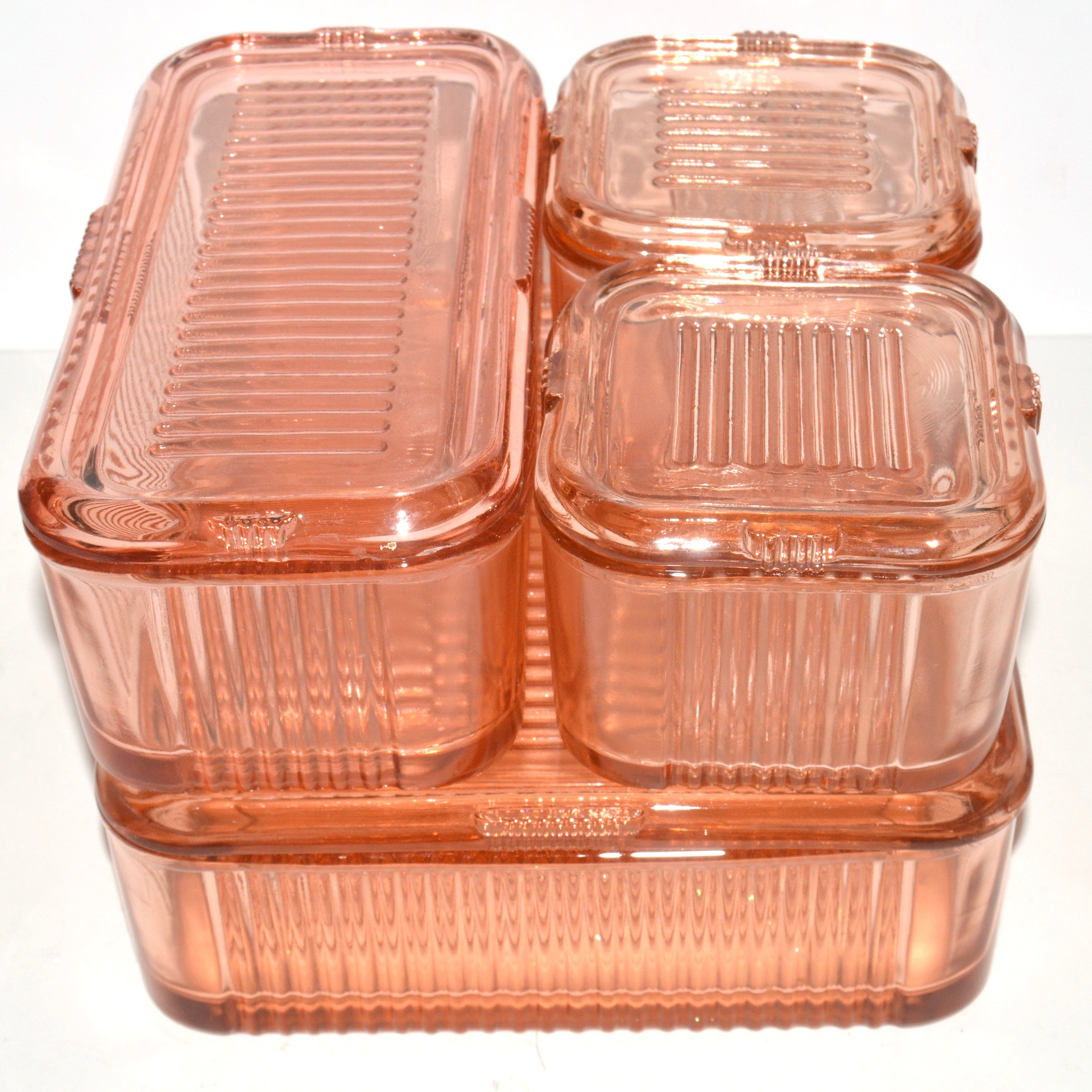 Pink Depression Glass Refrigerator Containers