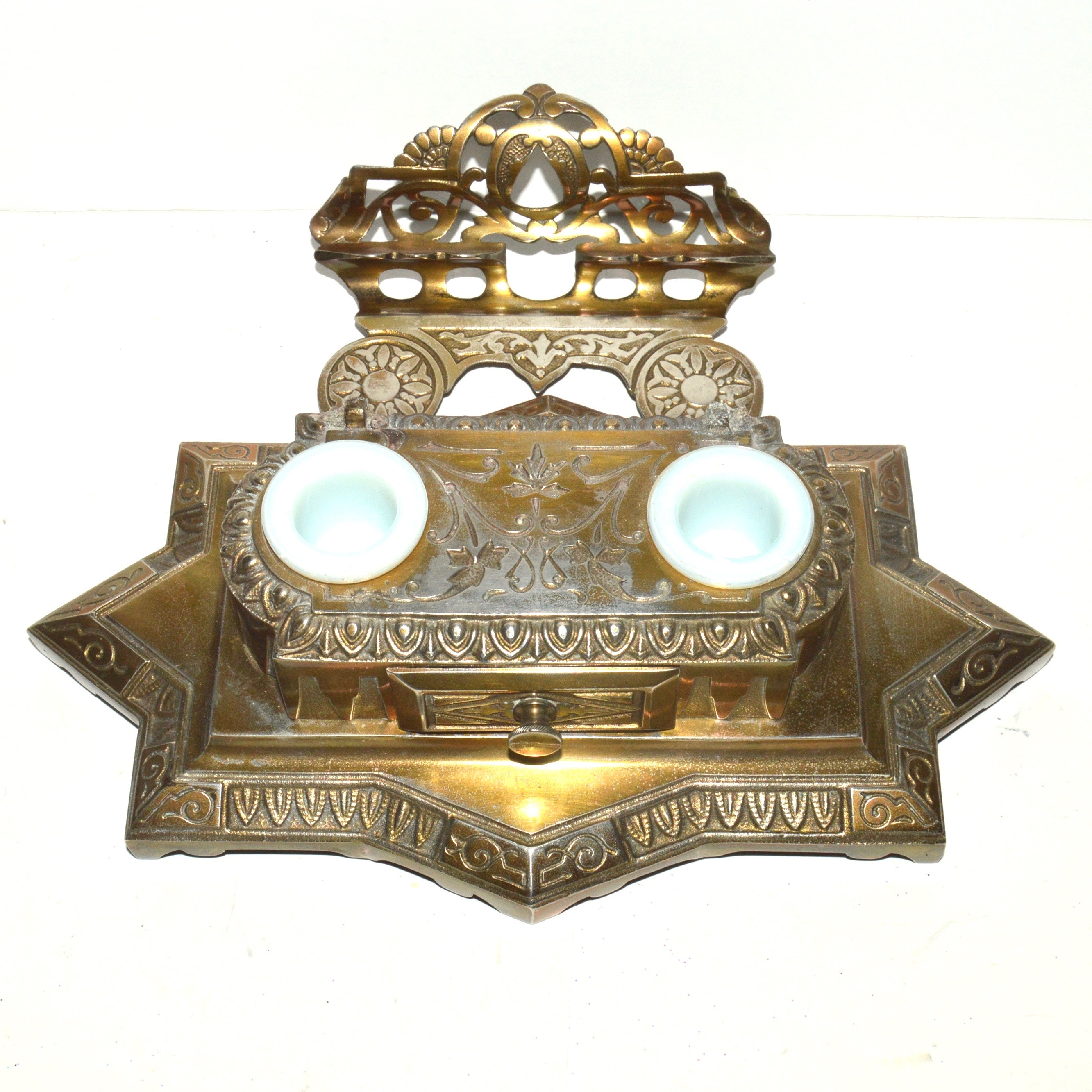 Bradley & Hubbard Brass Inkwell