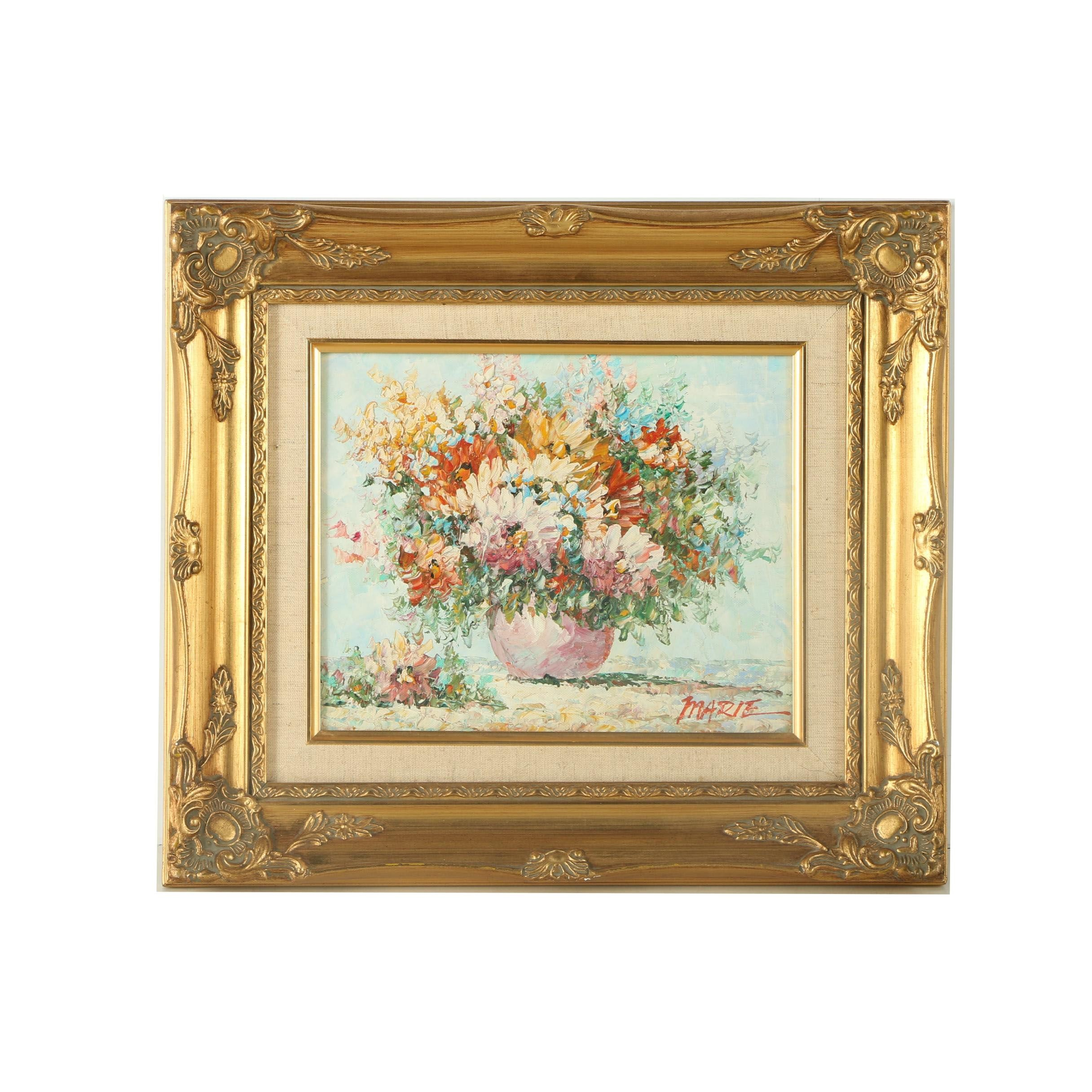 Marie Oil Painting on Canvas of a Floral Still Life