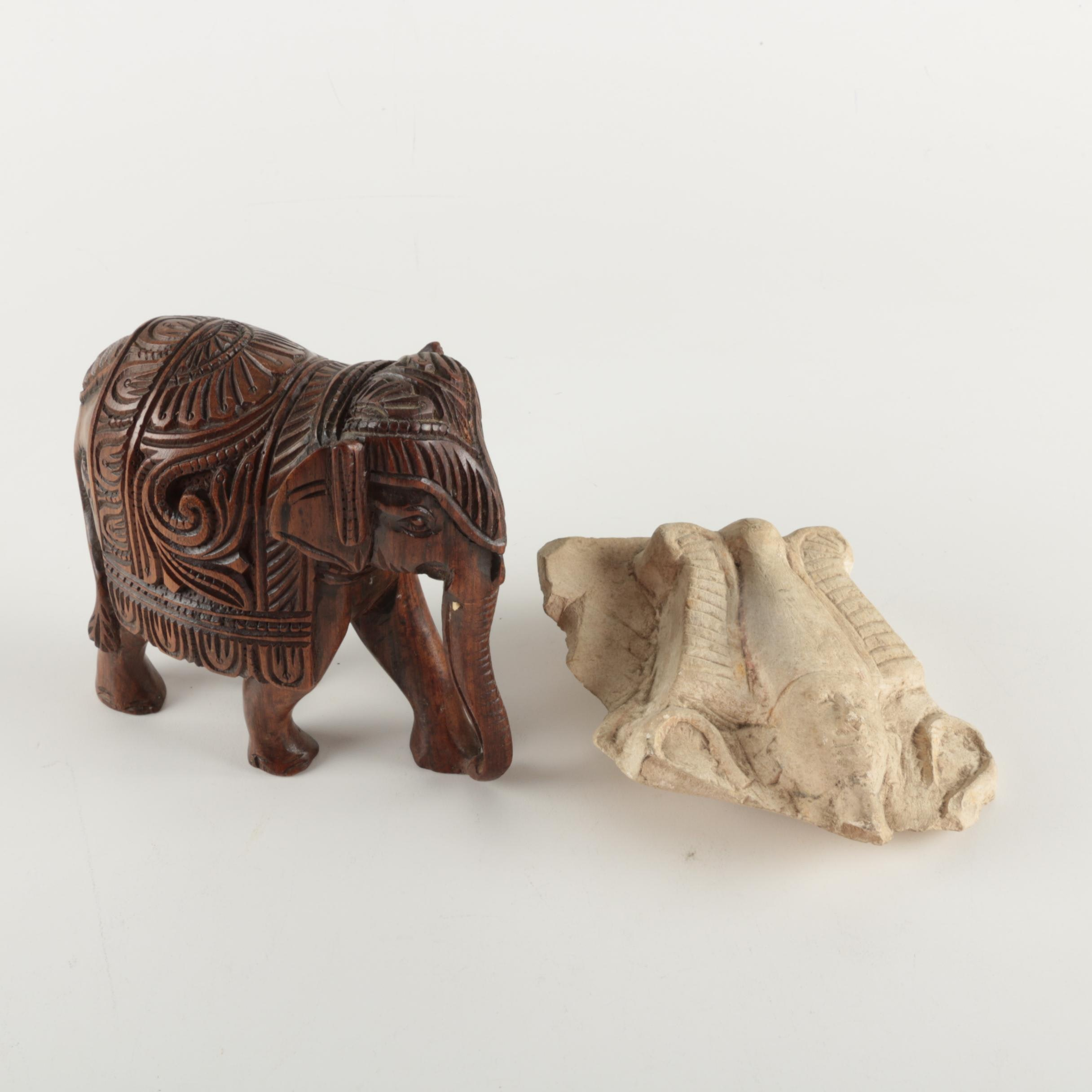 Carved Wood Elephant and Egyptian Inspired Ceramic Piece