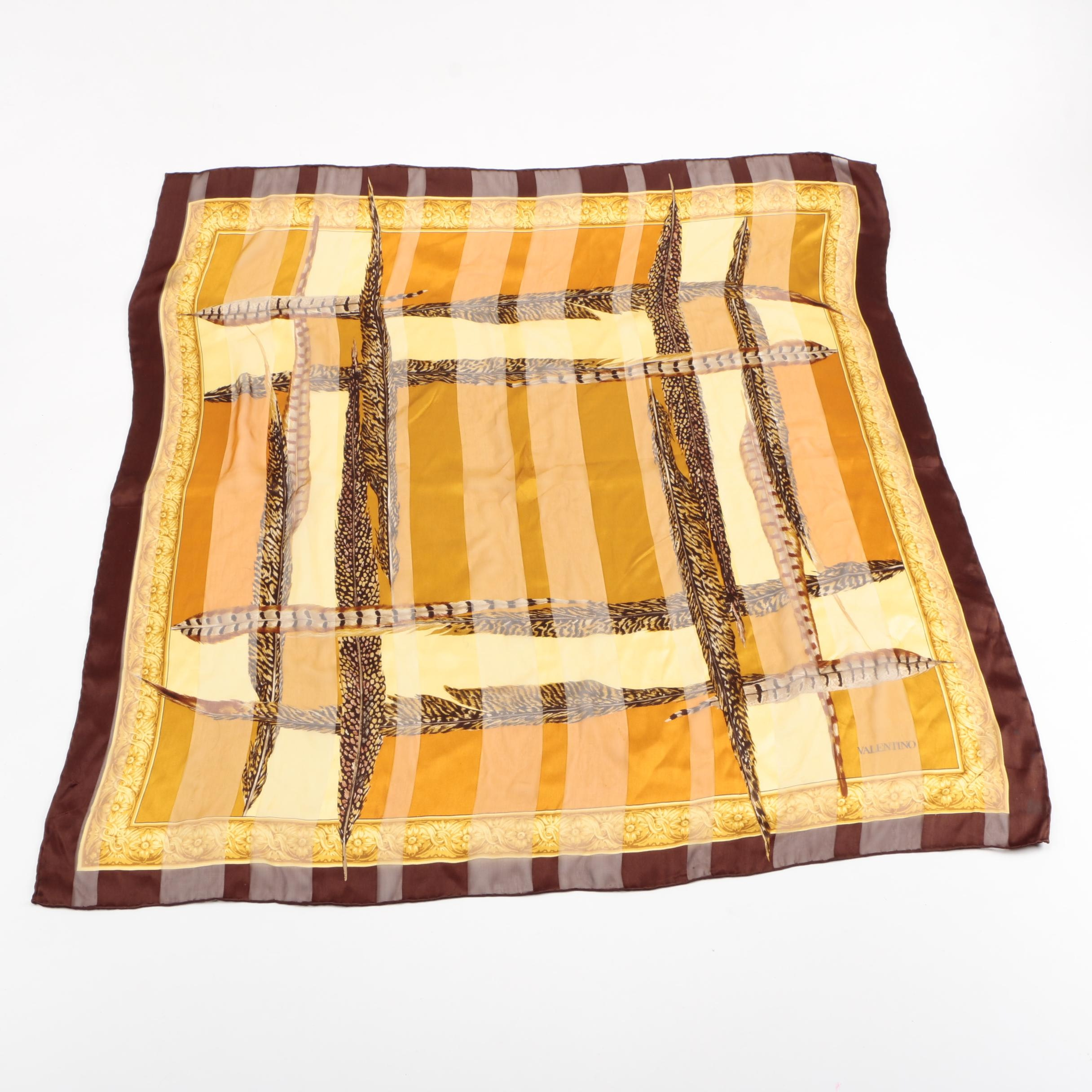 Valentino Brown and Gold Tone Silk Scarf