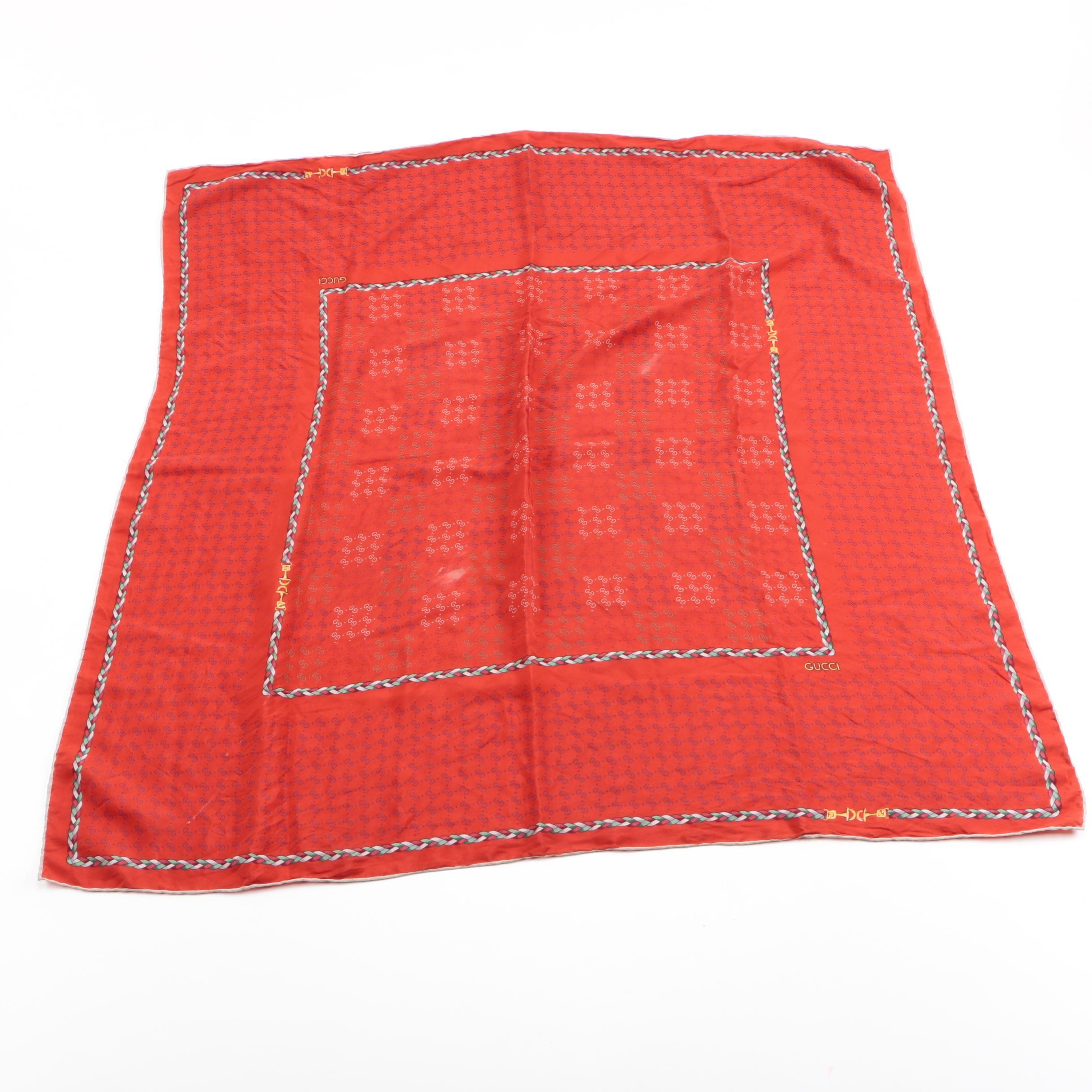 Gucci Red Silk Scarf