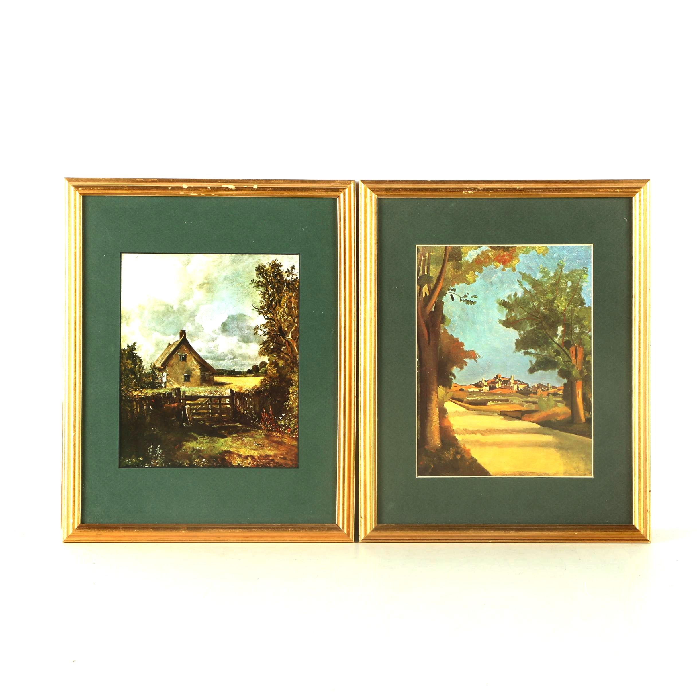 Two Framed Offset Lithographs with Green Mats