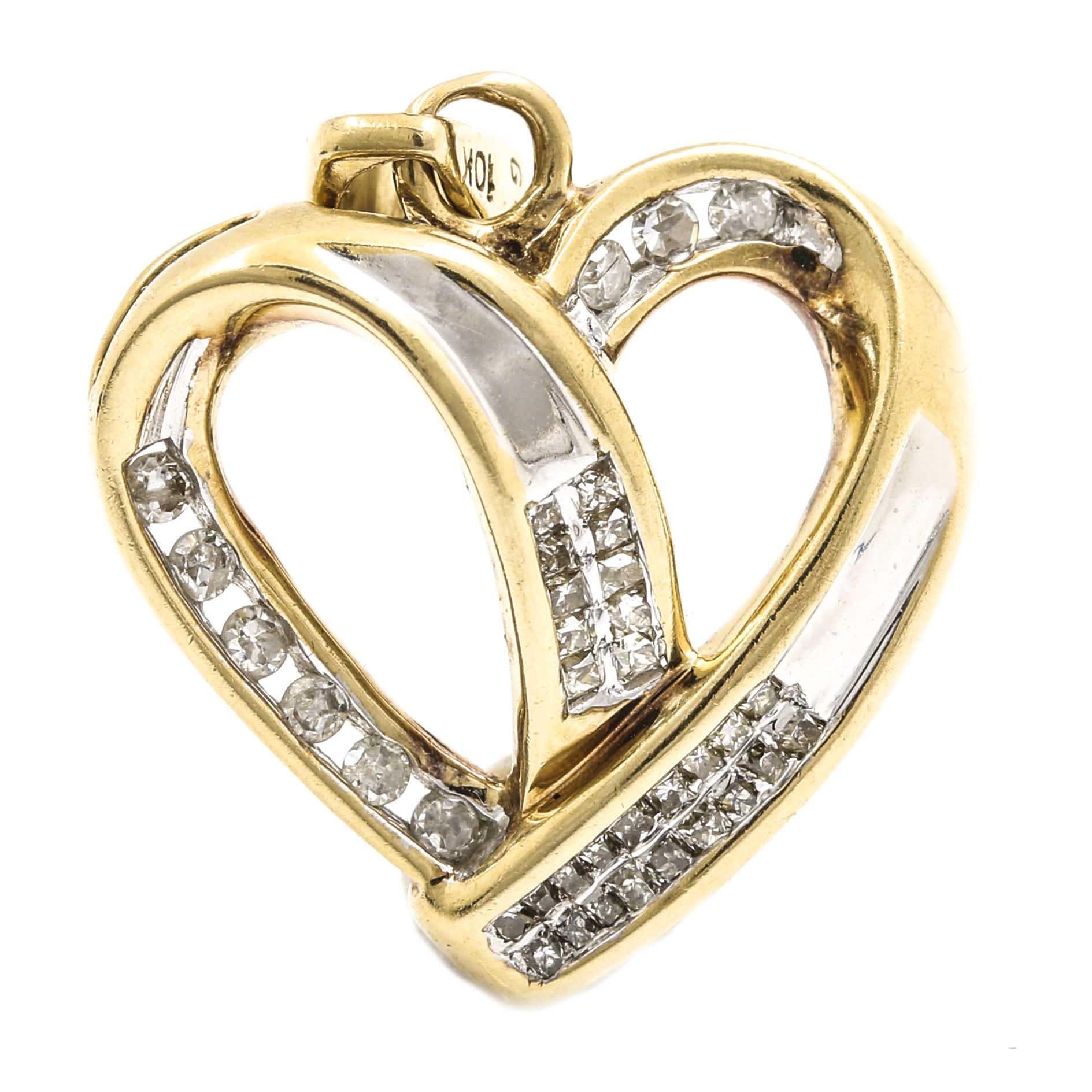 10K Two Tone Gold Diamond Heart Pendant