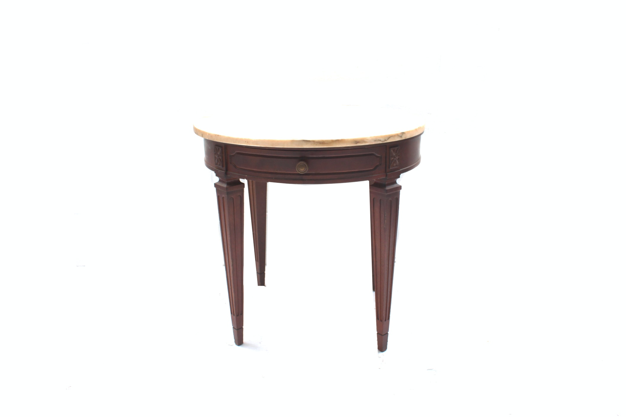 Vintage Marble Top Mahogany Accent Table