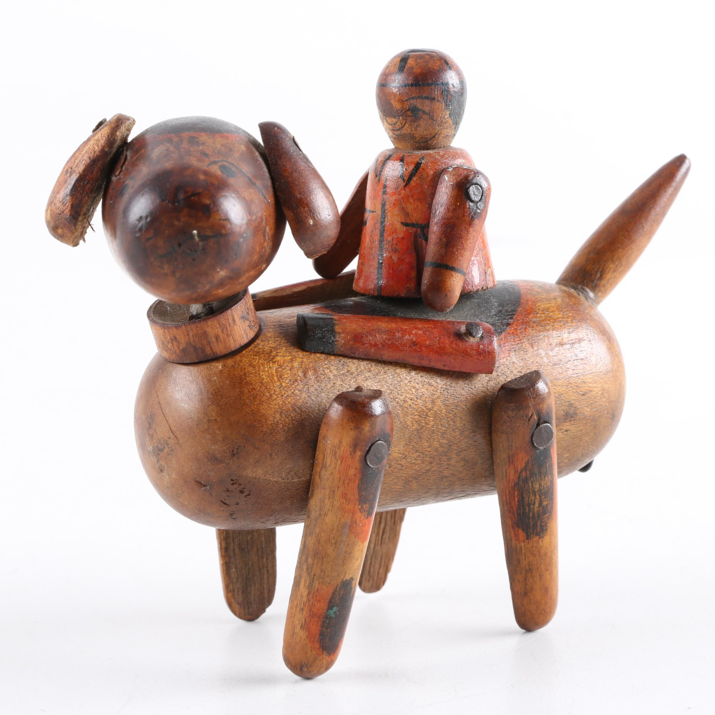 Vintage Wooden Boy and Dog Figure