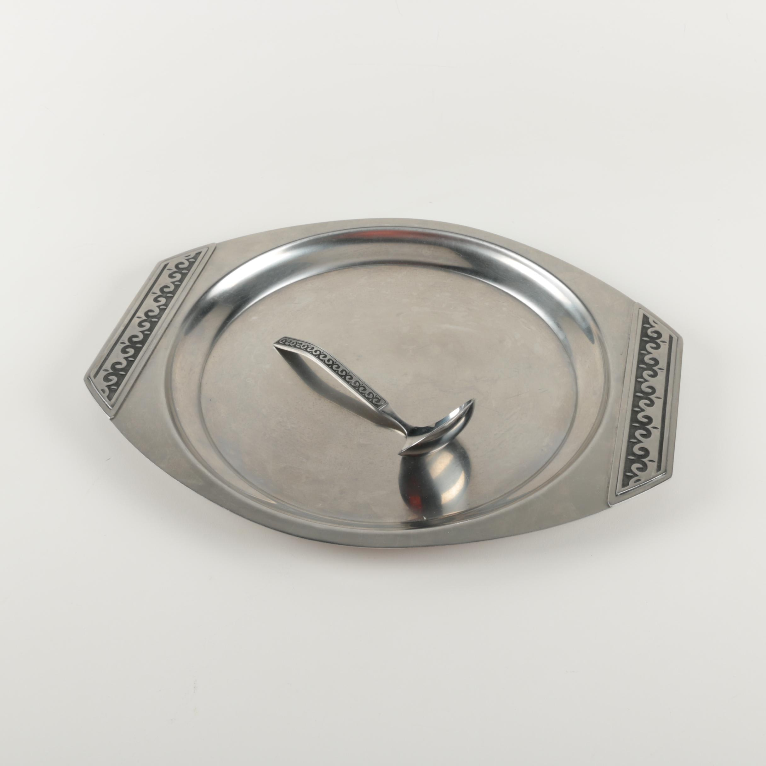 Stainless Steel Platter and Ladle