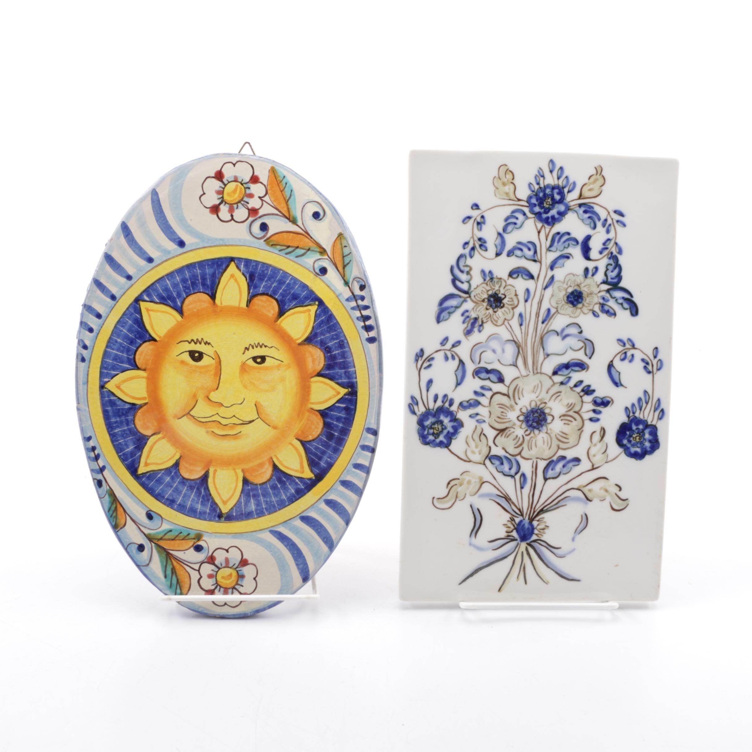 Pair of Italian Ceramic Tiles