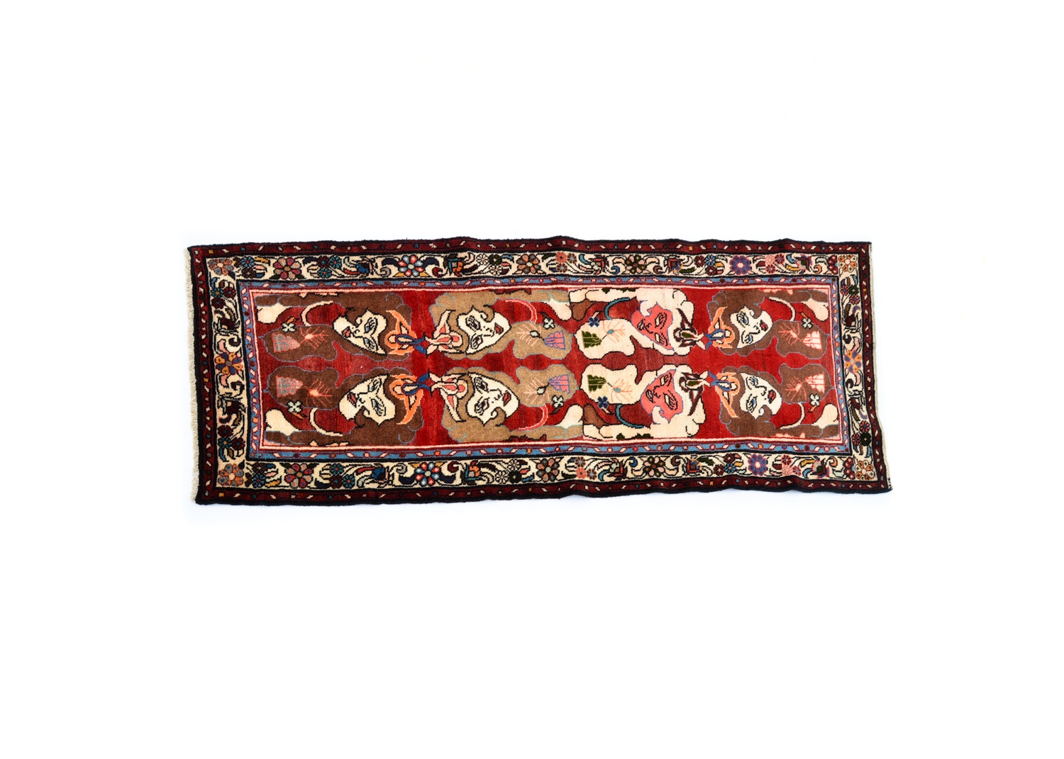 Hand-Knotted Persian Pictorial Carpet Runner