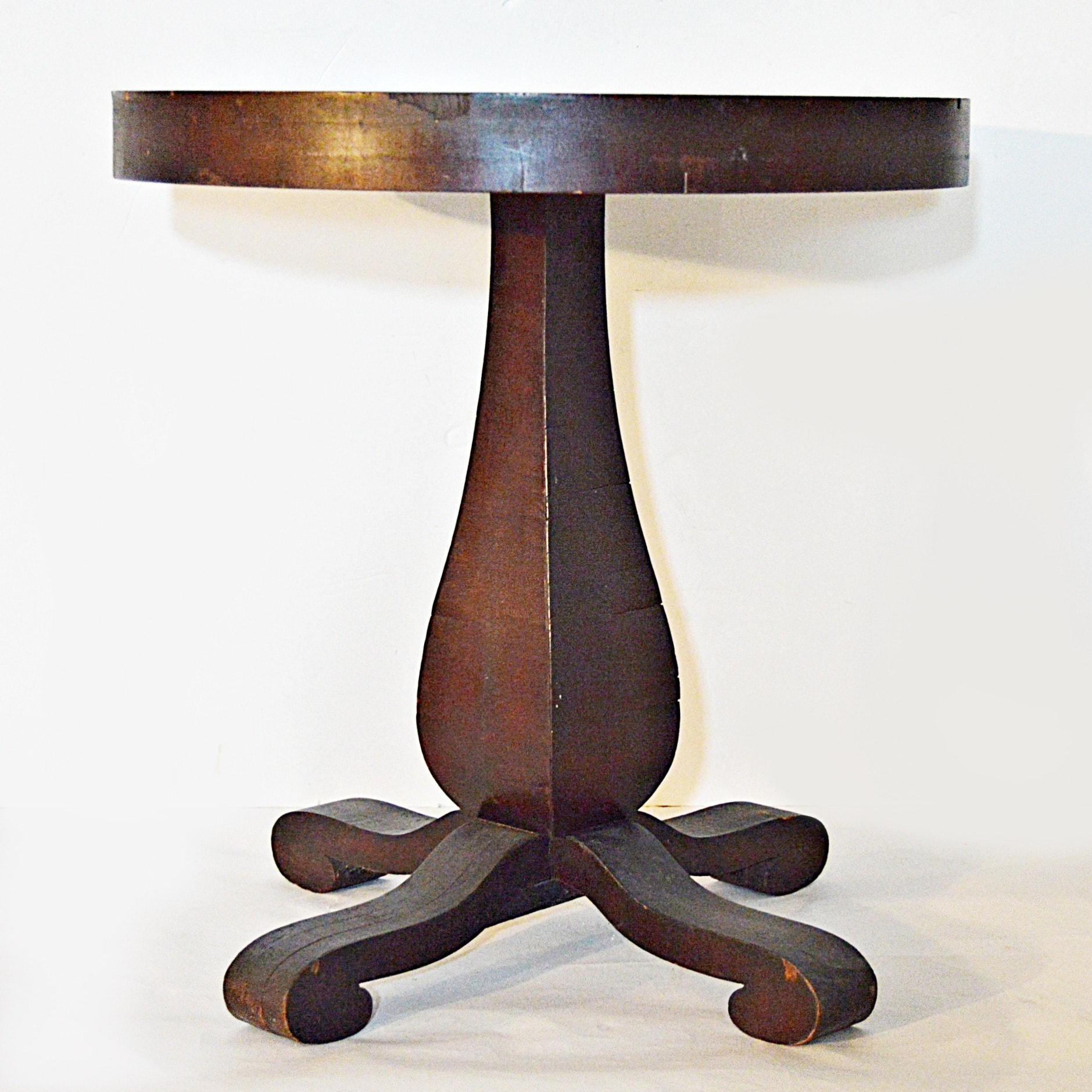 Vintage Empire Style Walnut Round Side Table
