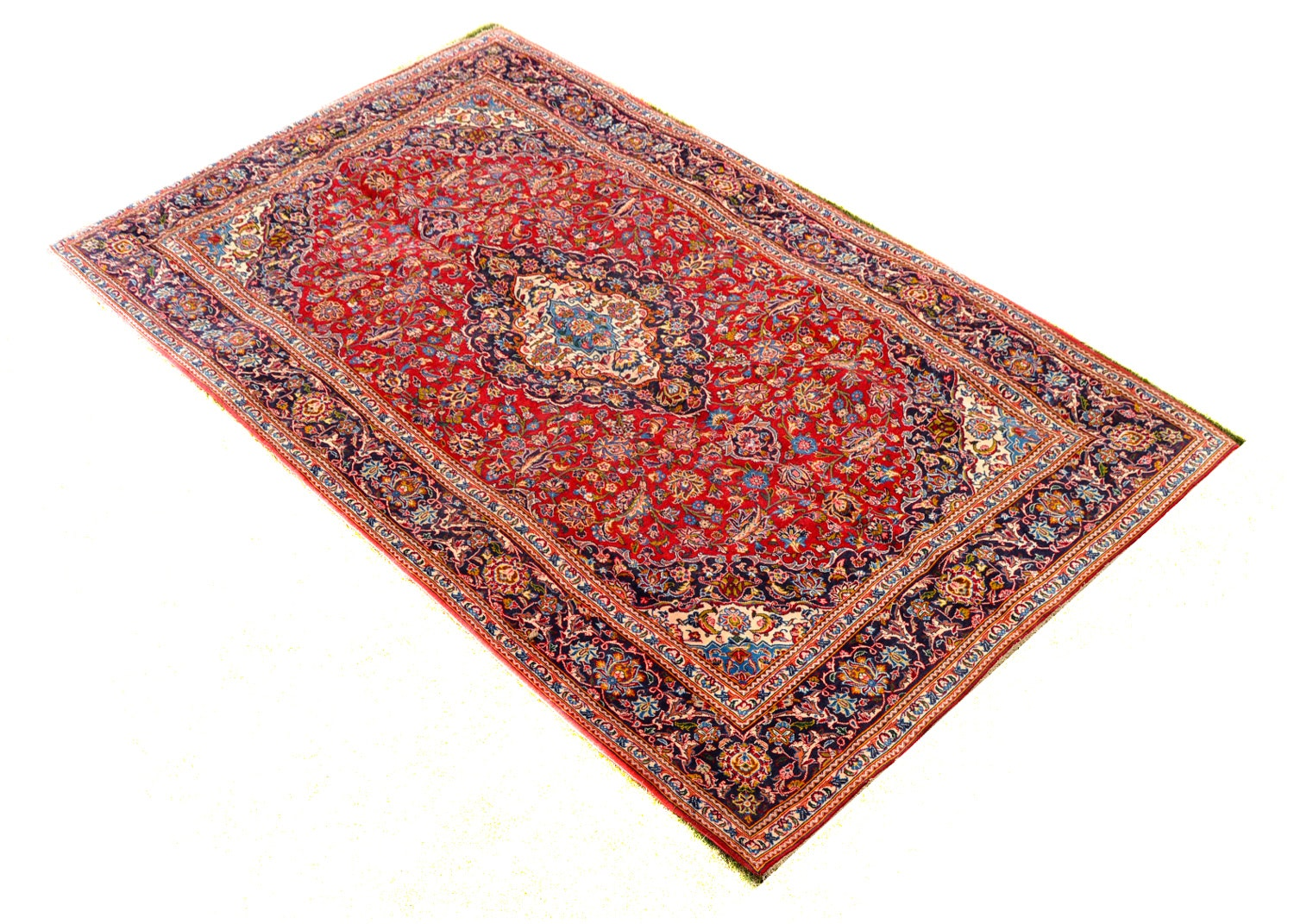Hand-Knotted Persian Shadsar Kashan Area Rug