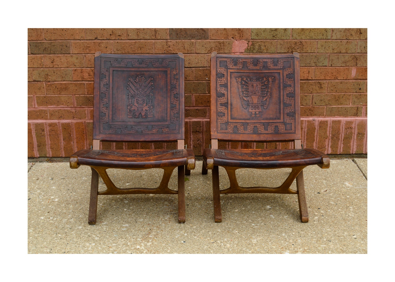 Mid-Century Peruvian Hand-Tooled Leather Folding Chairs