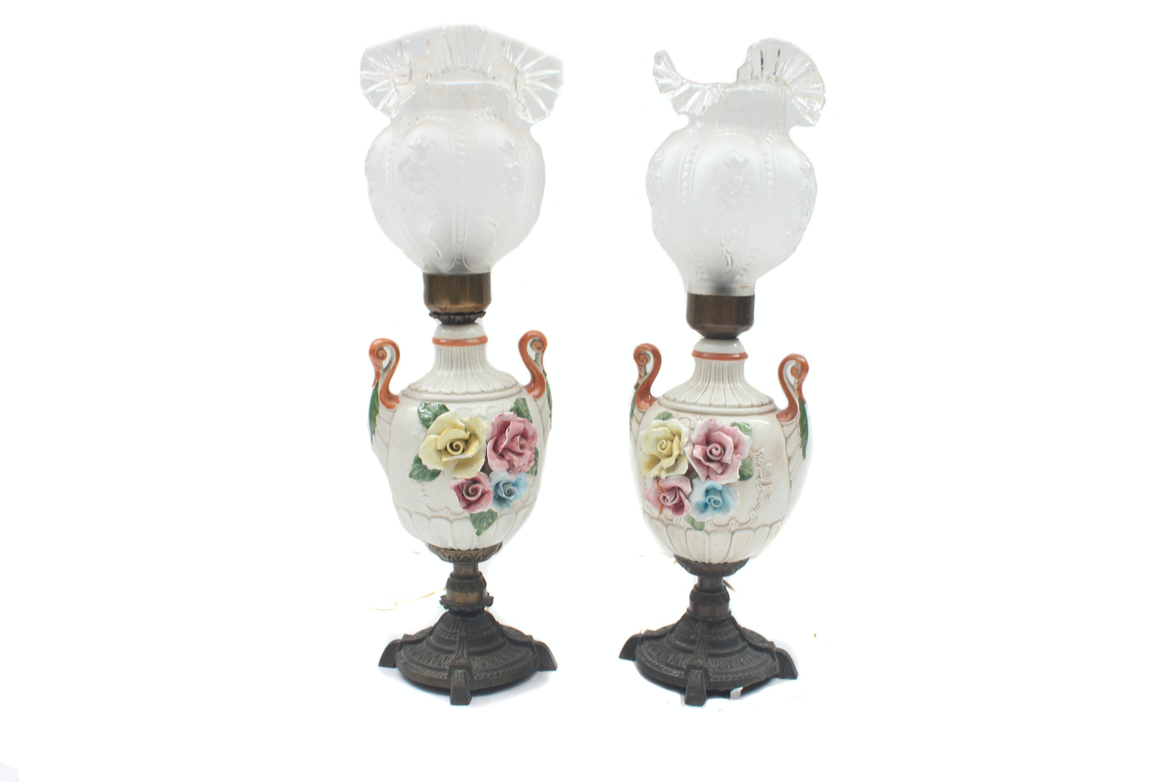 Pair of Urn Shaped Parlor Lamps