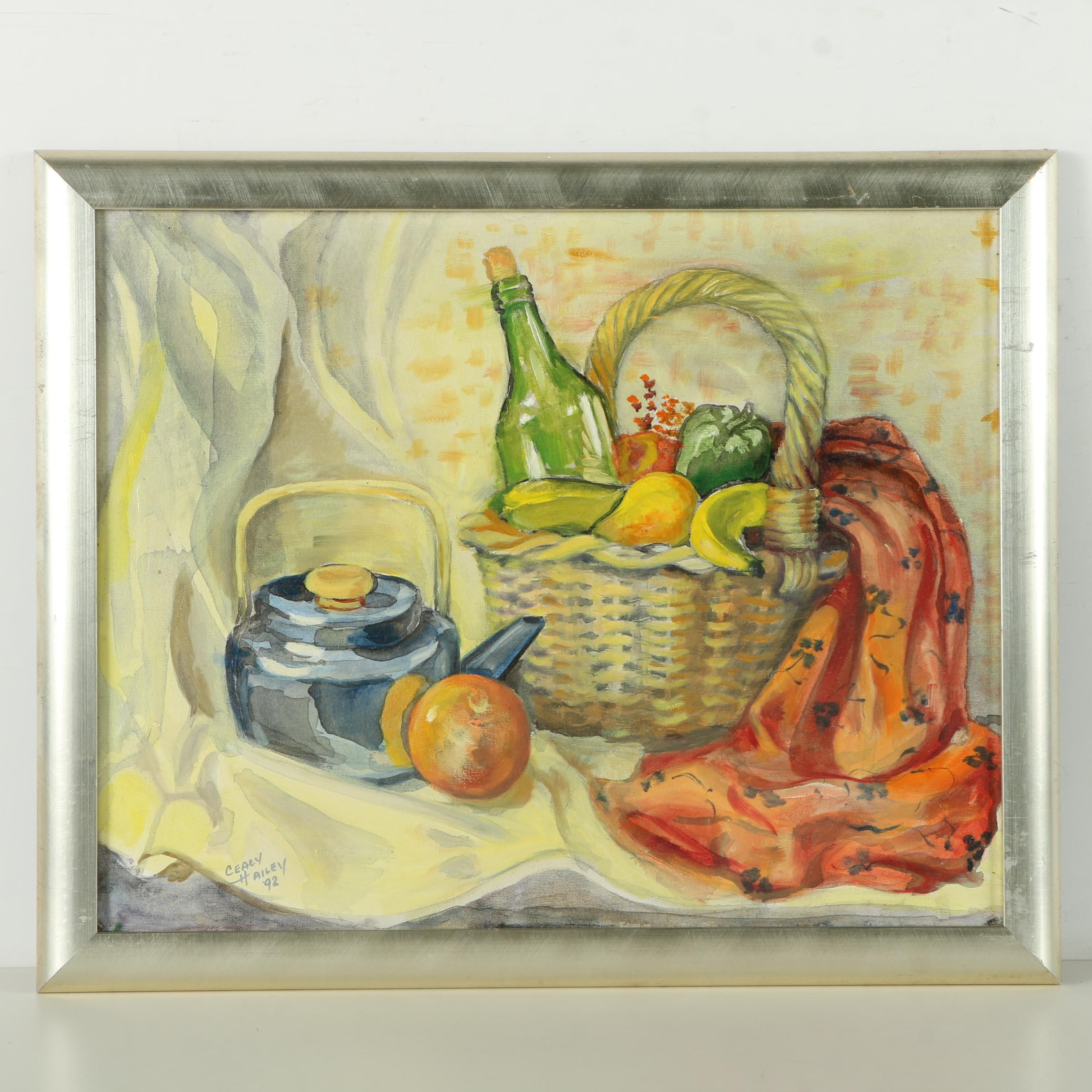 "Ceacy Hailey Oil on Canvas ""Basket & Kettle With Orange"""