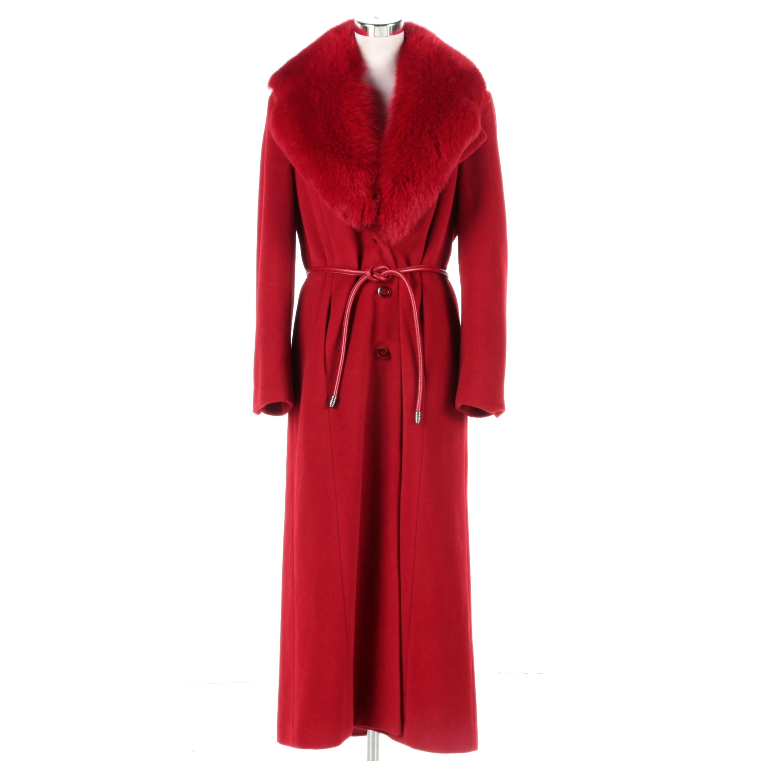 B Bella Bicchí by Sal Red Wool Coat with Dyed Red Fox Fur Collar