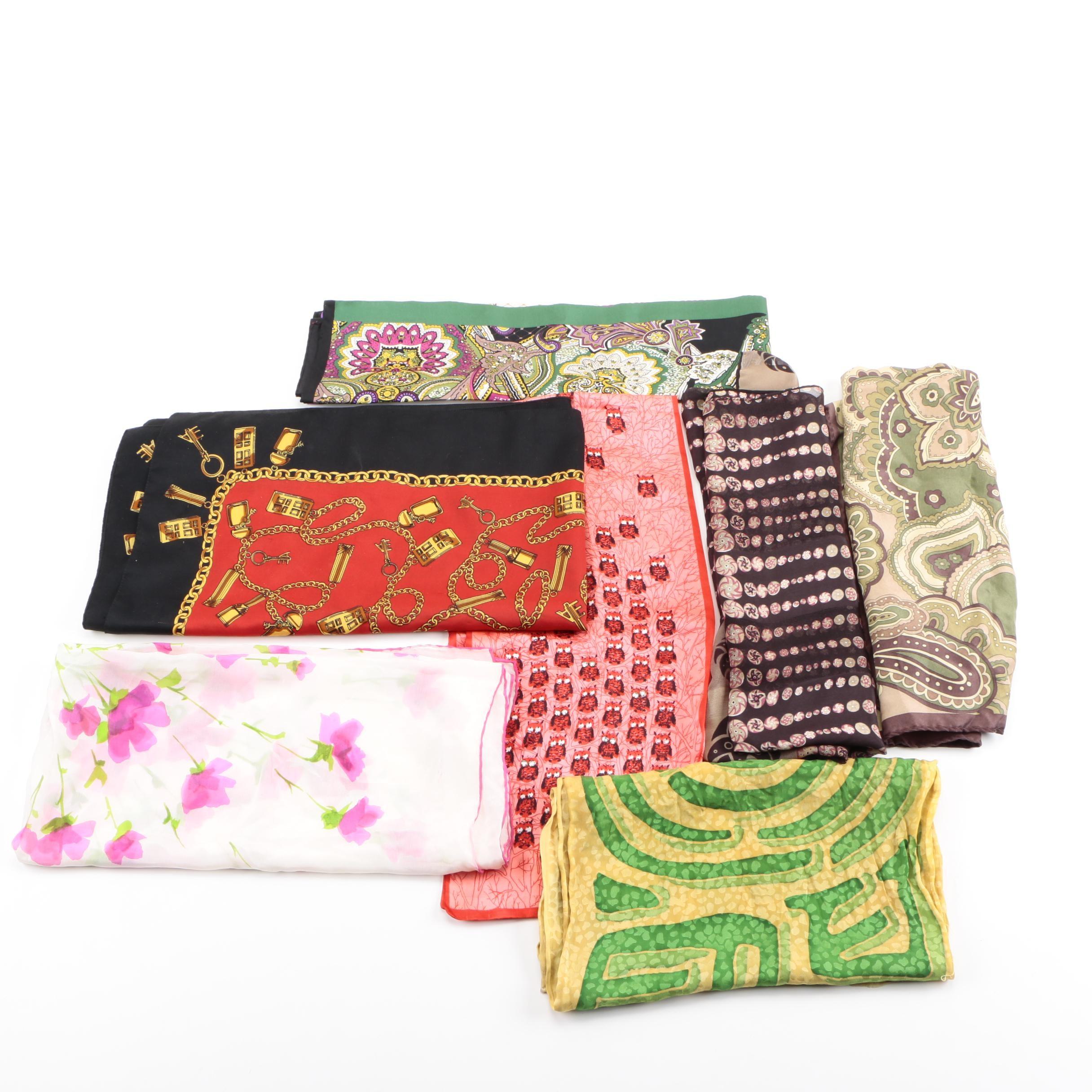Collection of Fashion Scarves Including Elizabeth Arden