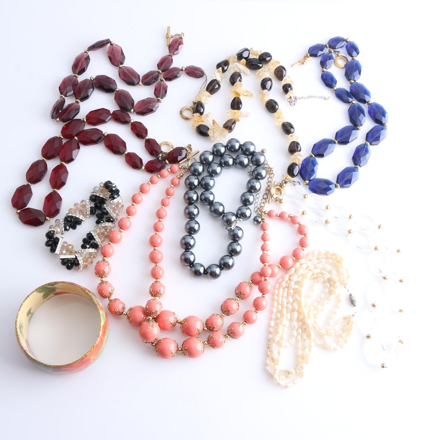 collection of costume jewelry including ralph lauren and