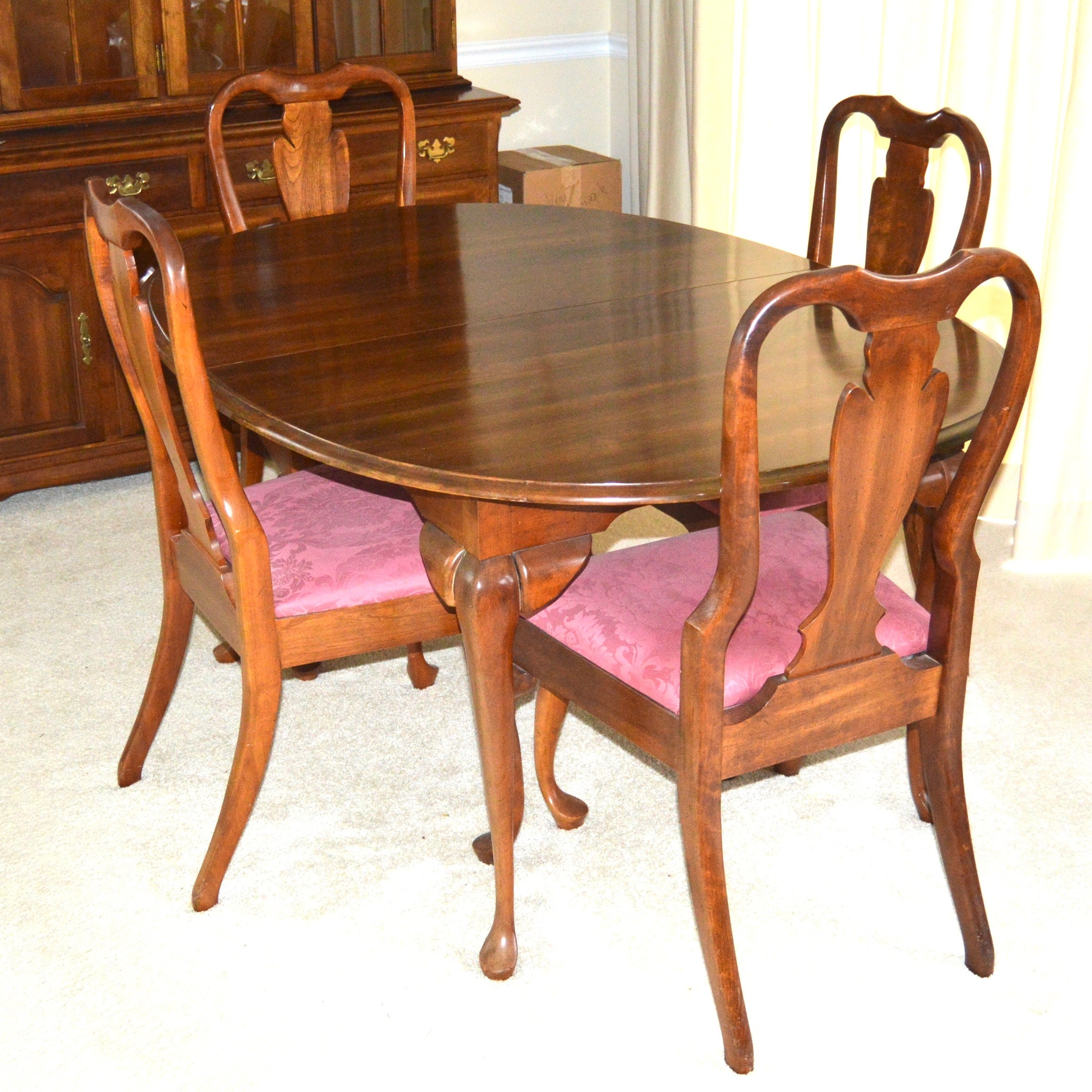 Solid Cherry Queen Anne Style Dining Table and Chairs by Cresent
