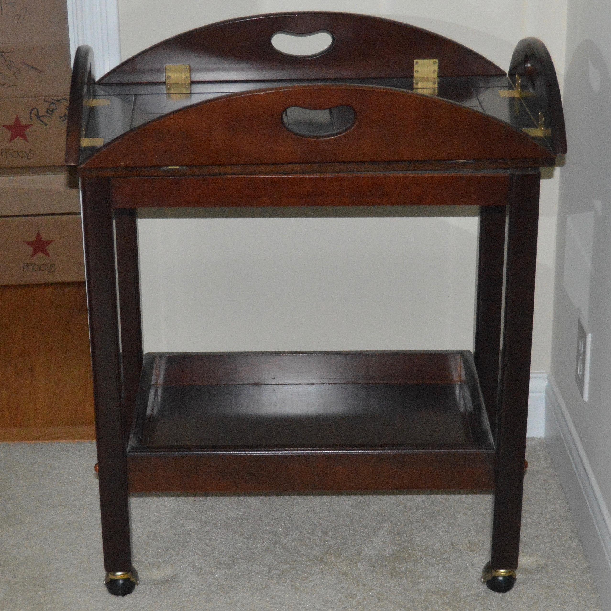 Tray Top Wooden Serving Table on Casters