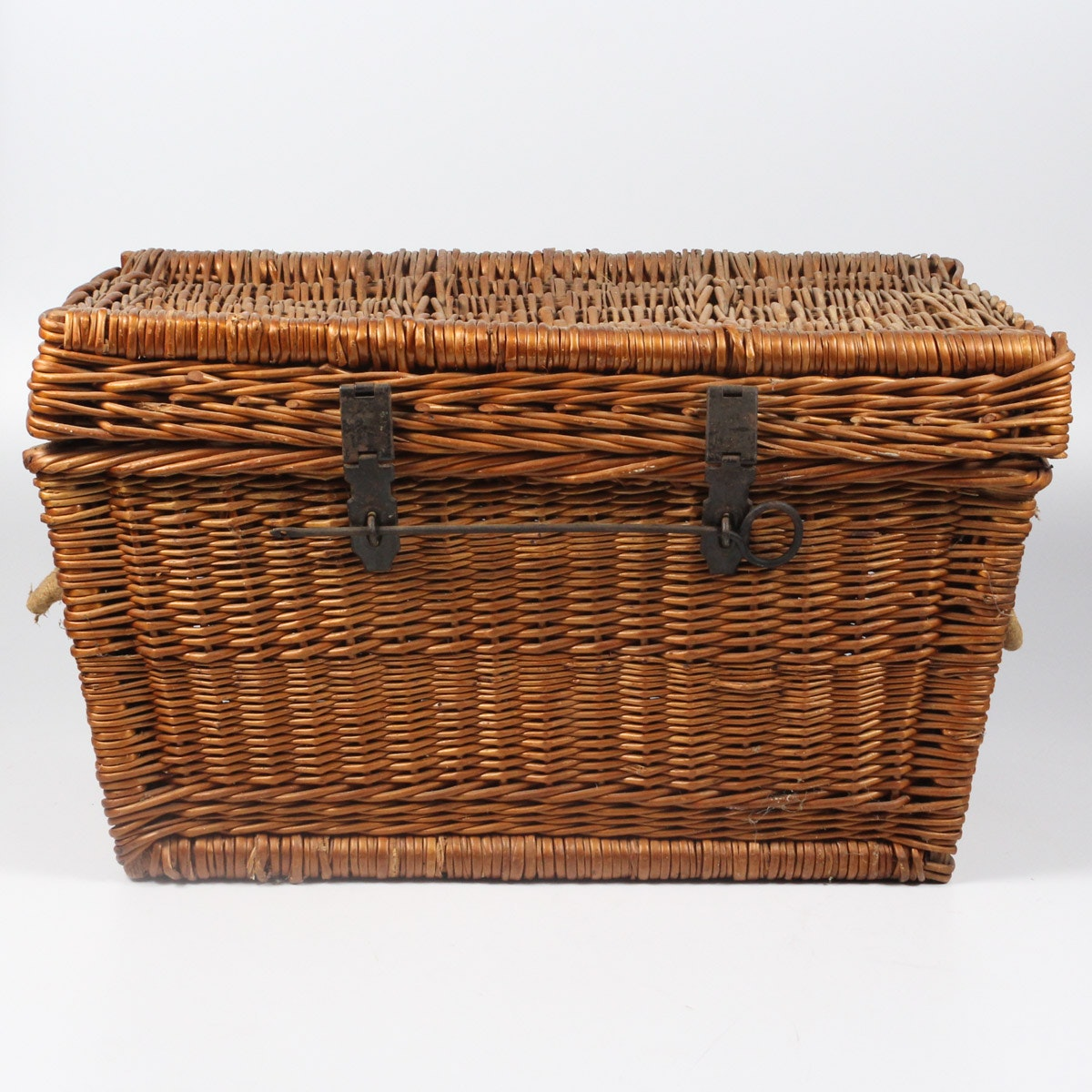 Wicker Cane Chest with Antique Locks