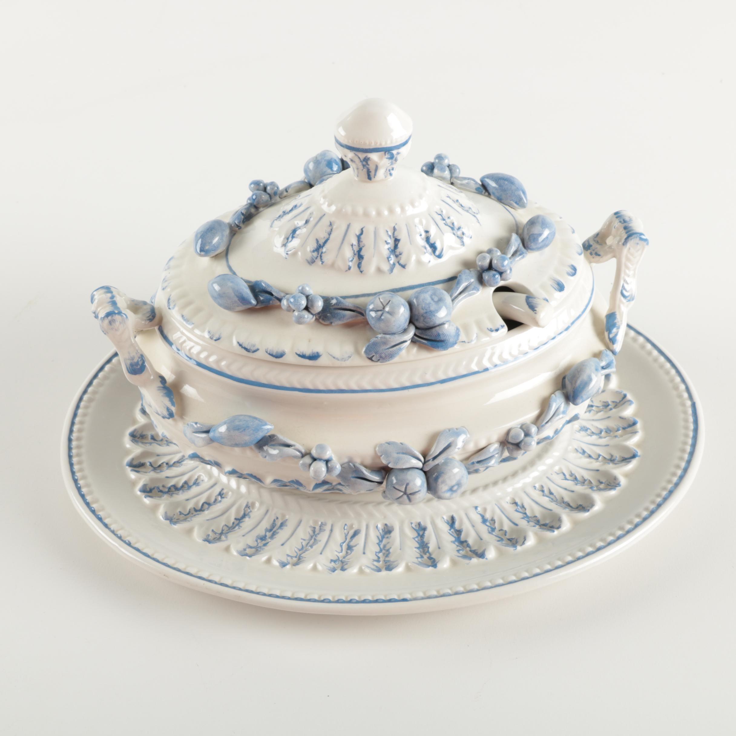 Italian J. W. Co. Ceramic Tureen and Platter