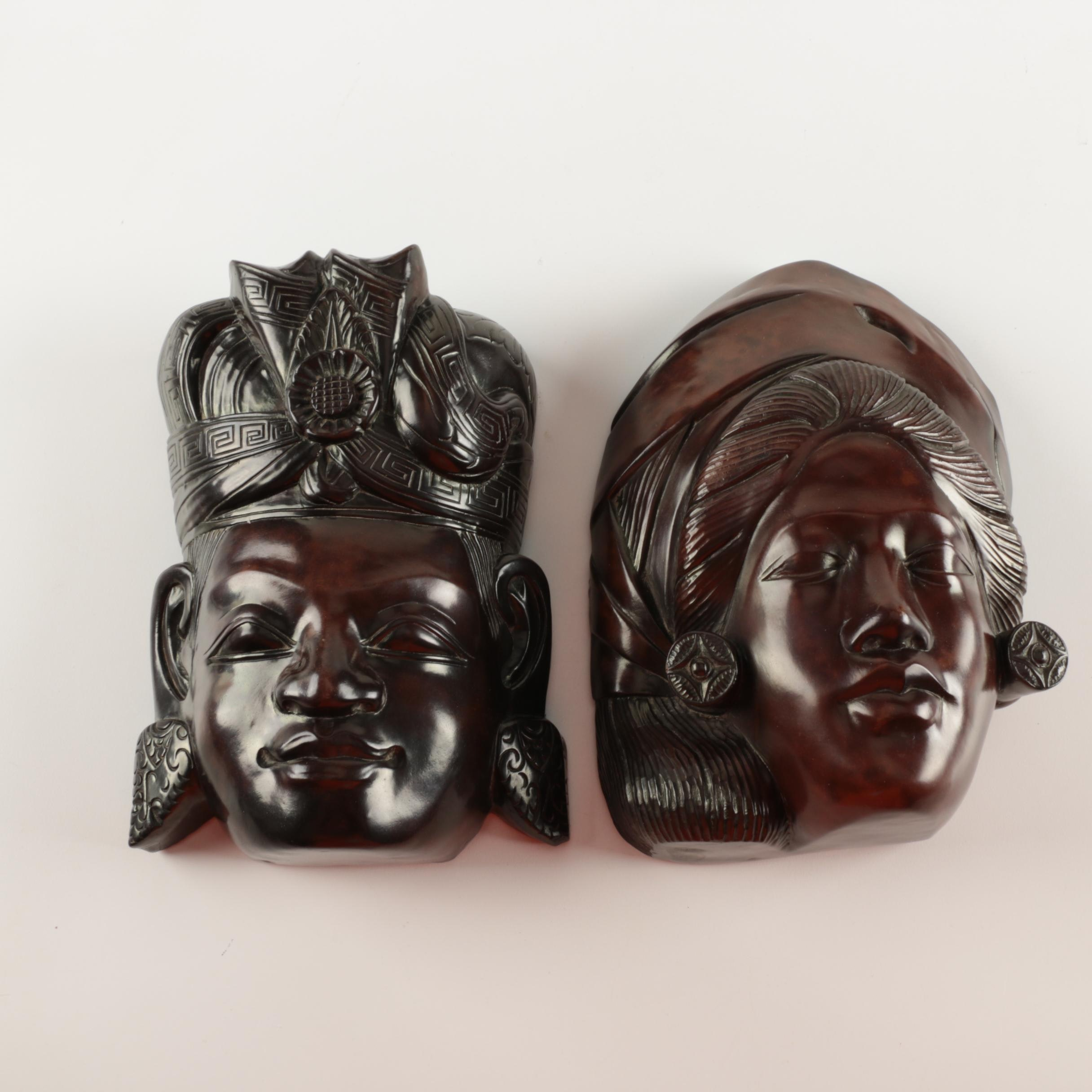 Balinese Style Carved Wooden Masks