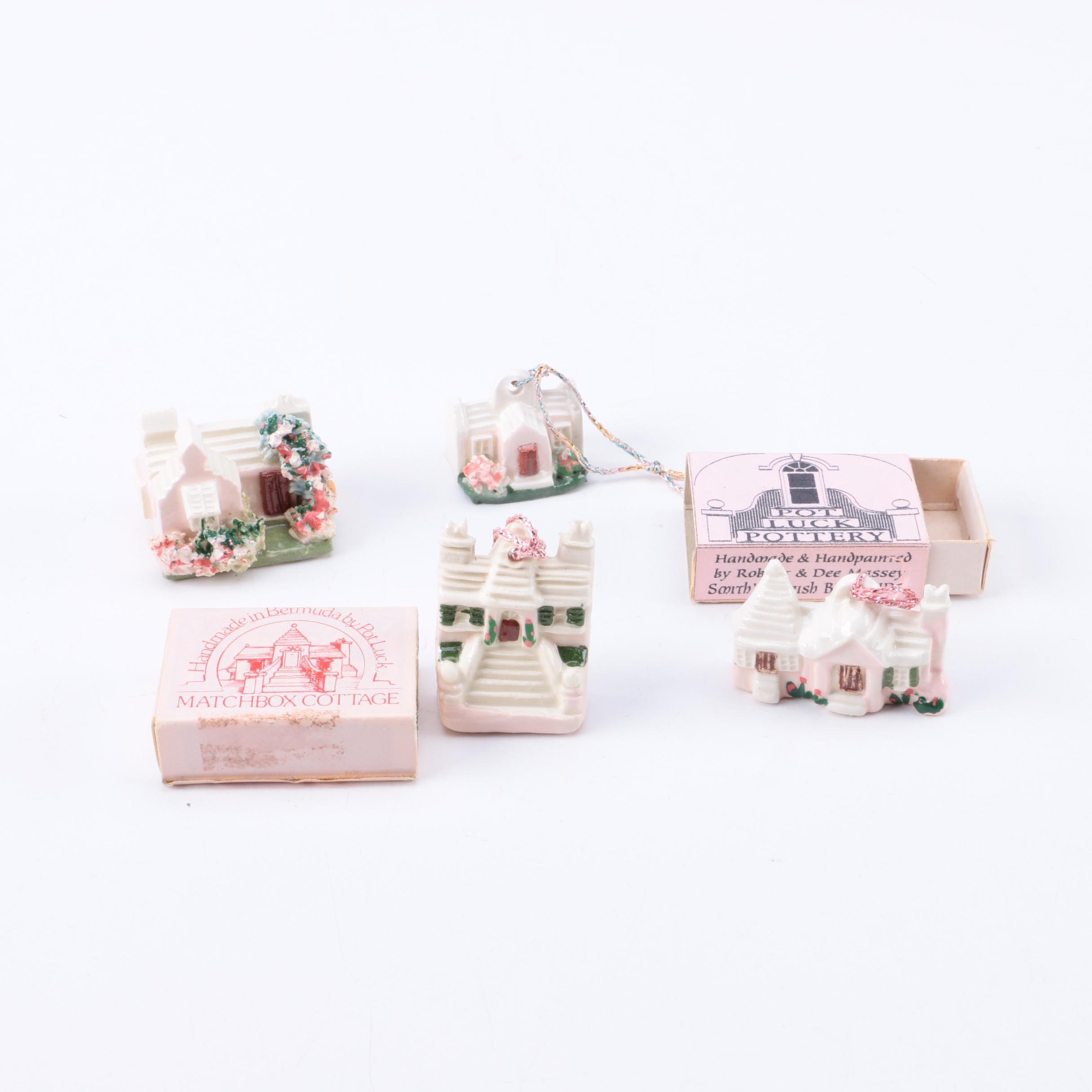 "Pot Luck Pottery ""Matchbox Cottage"" Ornaments"